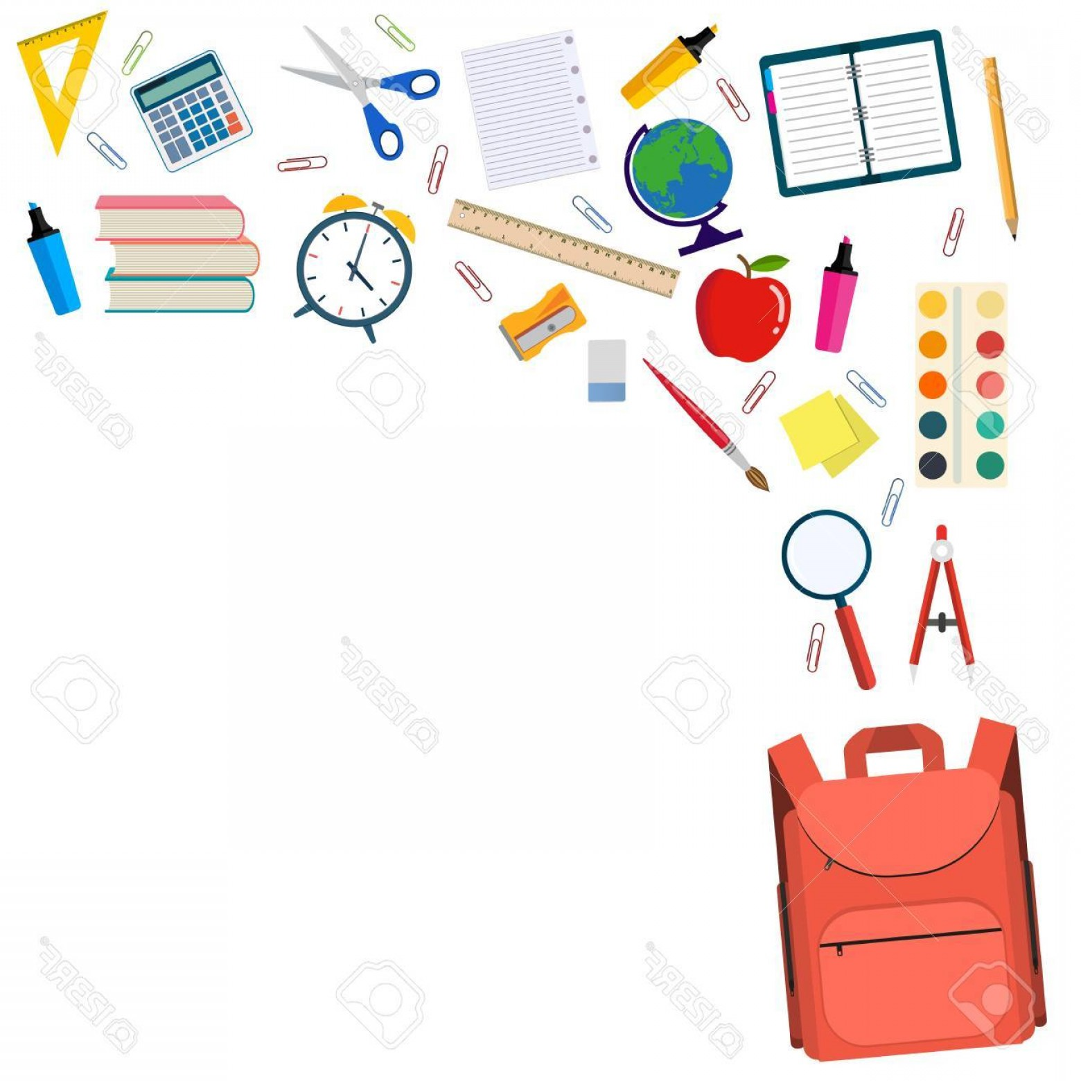 Individual School Supplies Vector: Photostock Vector Back To School Background With School Supplies In School Bag Big Set Vector Illustration In Flat Des