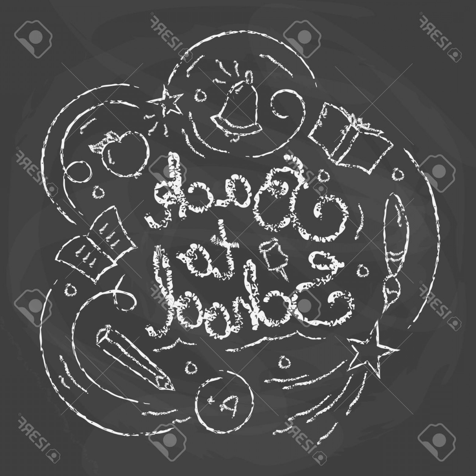 School Themed Vector: Photostock Vector Back To School Card Chalk Quote On Blackboard Background Vector Illustration With Lettering School T