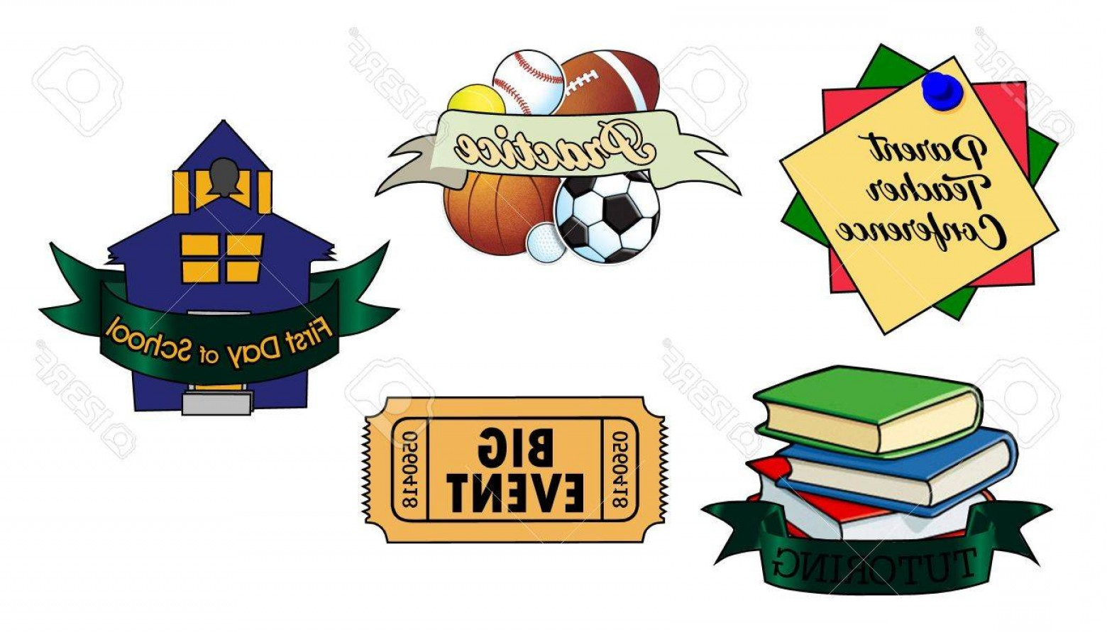 School Themed Vector: Photostock Vector Back To School Themed Vector Art For Planner Sticker Sheets And More