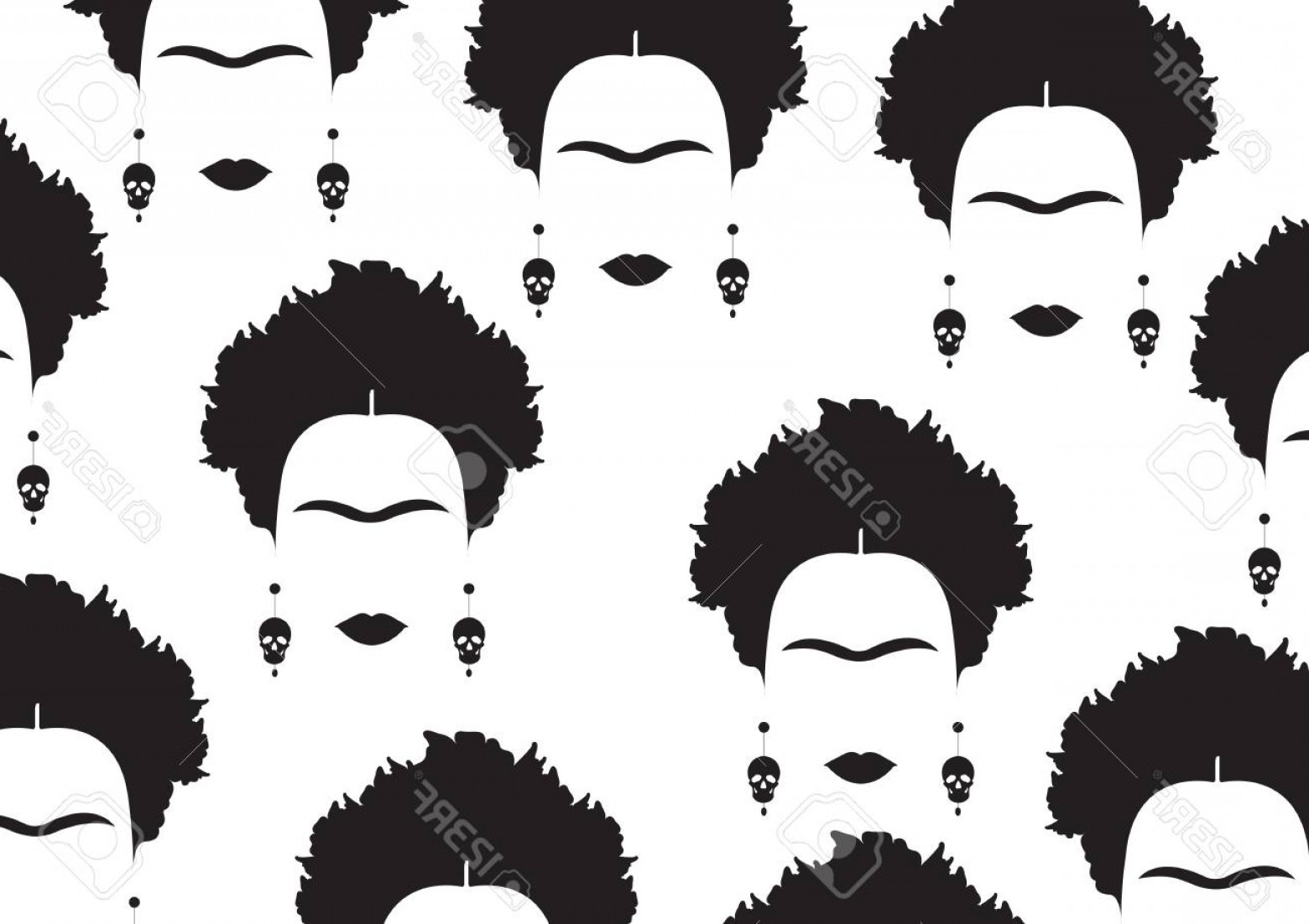 Frida Black And White Vector: Photostock Vector Background Black Portrait Of Mexican Or Spanish Woman Minimalist Frida With Earrings Skulls Vector I