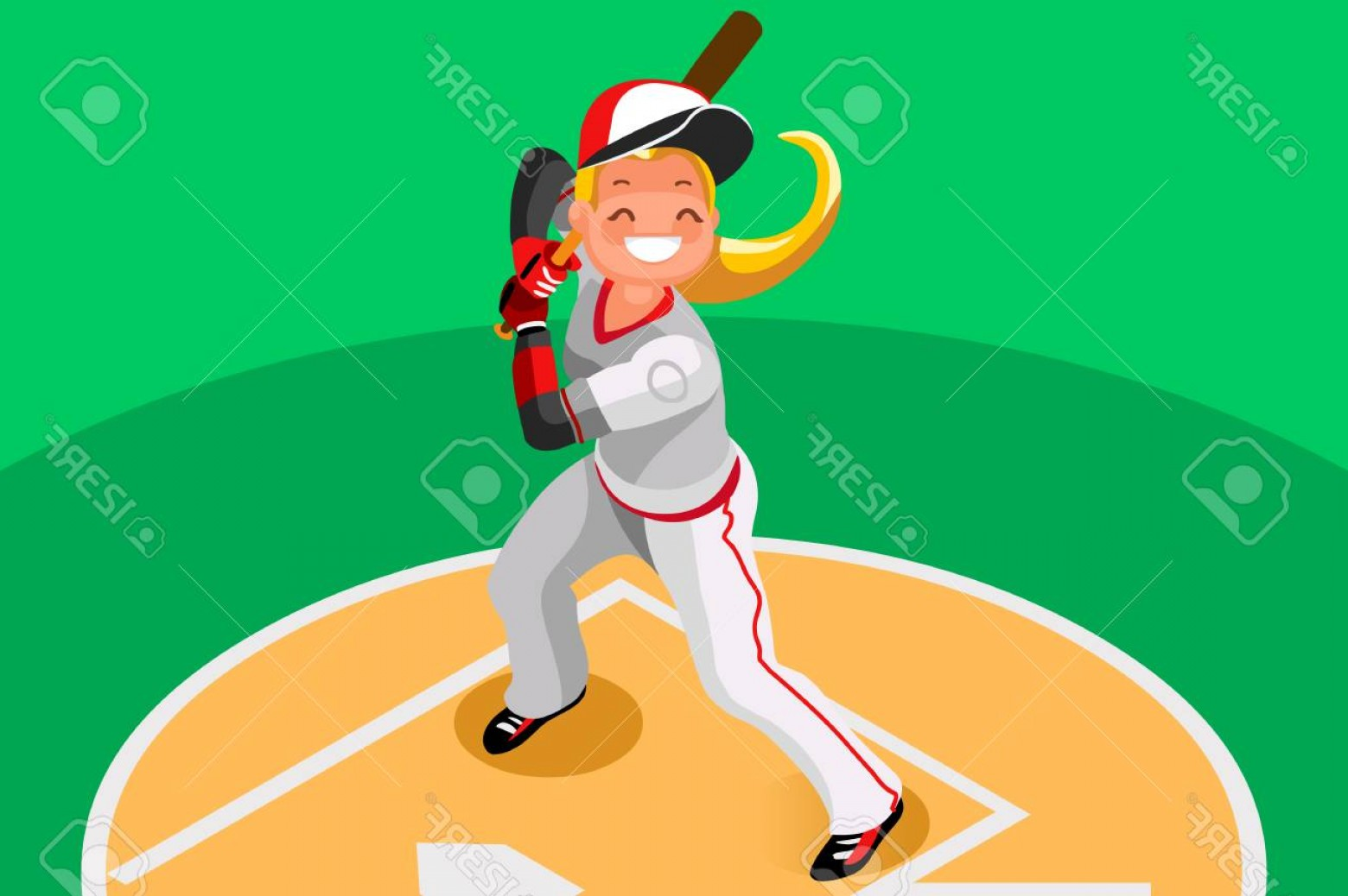 MLB Vectors: Photostock Vector Background Of Baseball With Vector Mascotte Sport Poster With Mlb Player D Flat Isometric People Ca