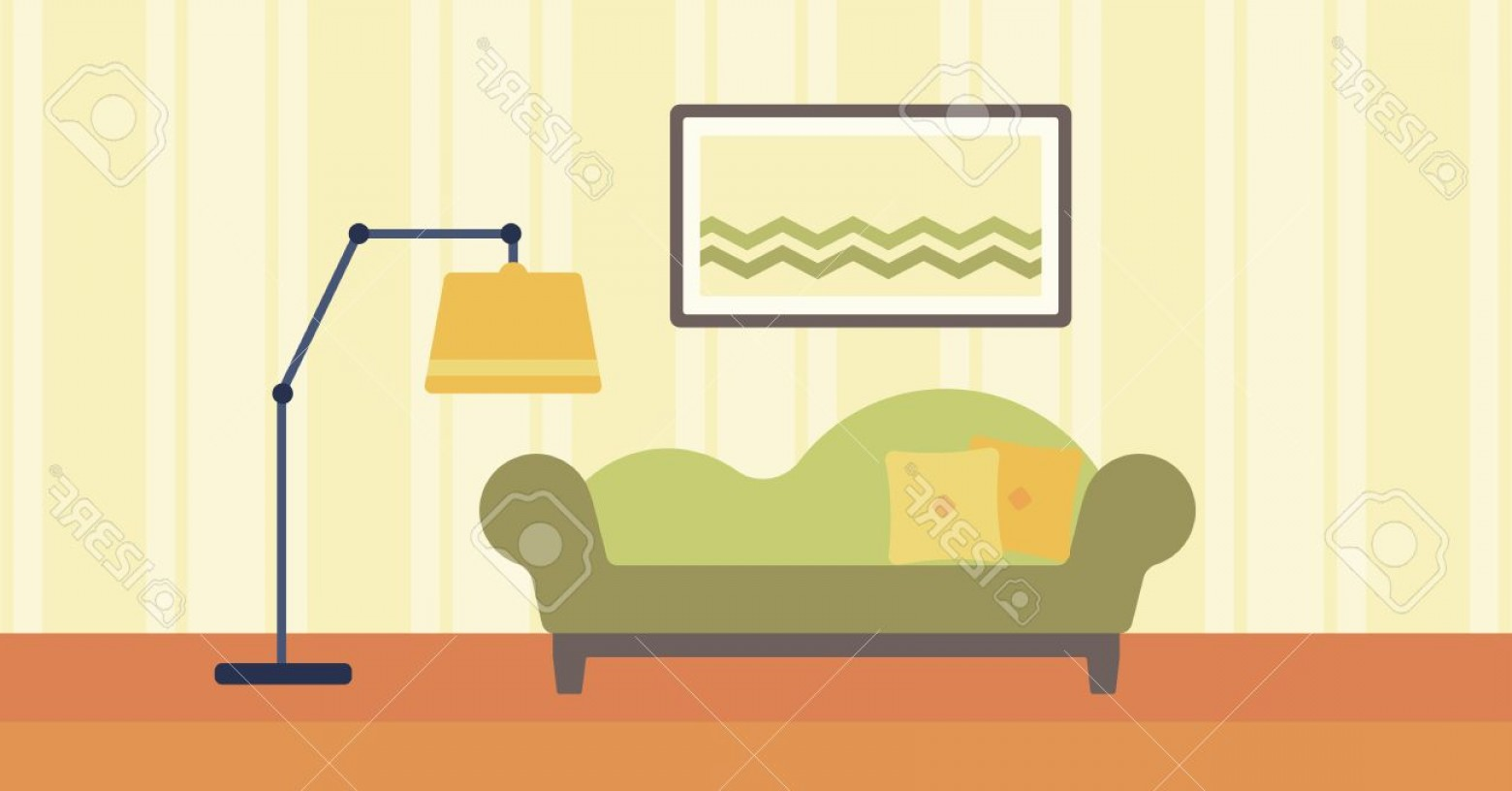 Vector Background For Living Room: Photostock Vector Background Of Living Room With Sofa And Picture On The Wall Vector Flat Design Illustration Horizont