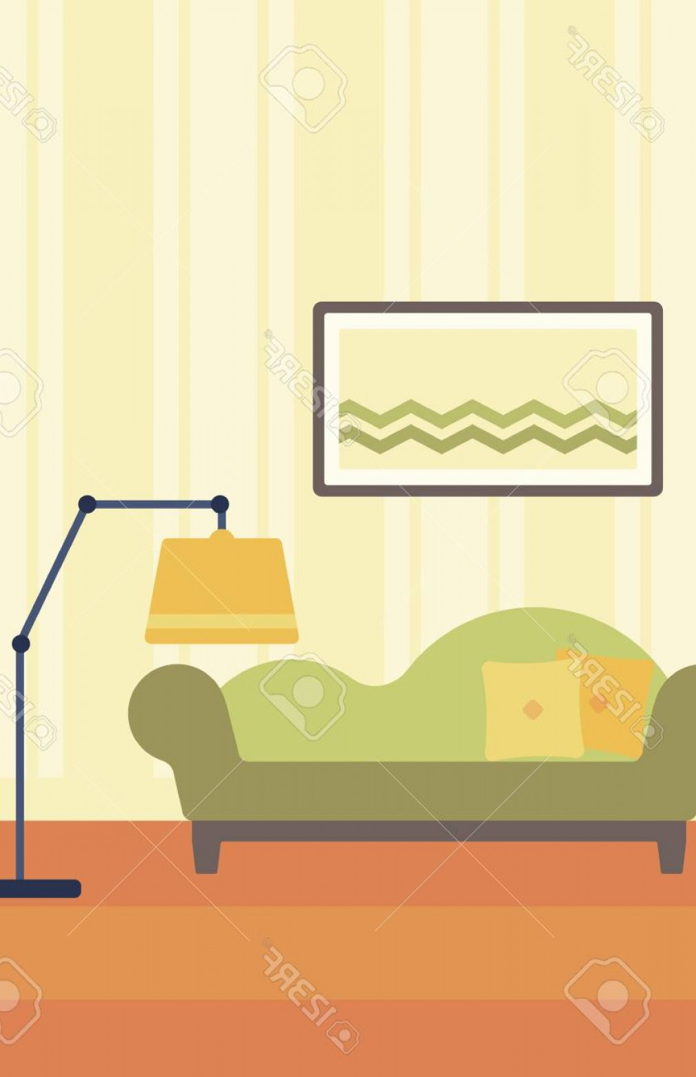 Vector Background For Living Room: Photostock Vector Background Of Living Room With Sofa And Picture On The Wall Vector Flat Design Illustration Vertical