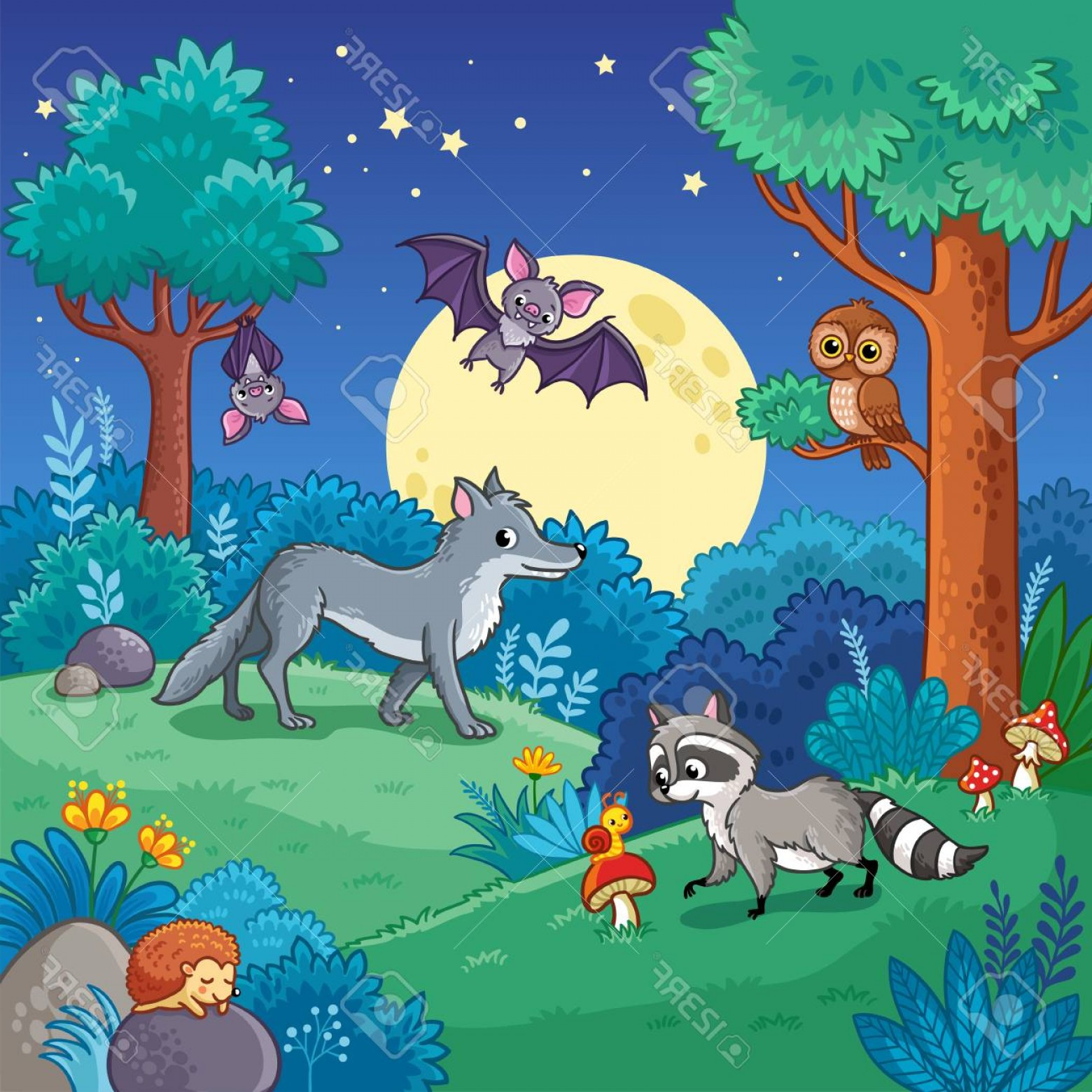 Calm Wolf Vector: Photostock Vector Background With Animals In The Night Forest Vector Illustration With Wolf Raccoon Bat In Children S