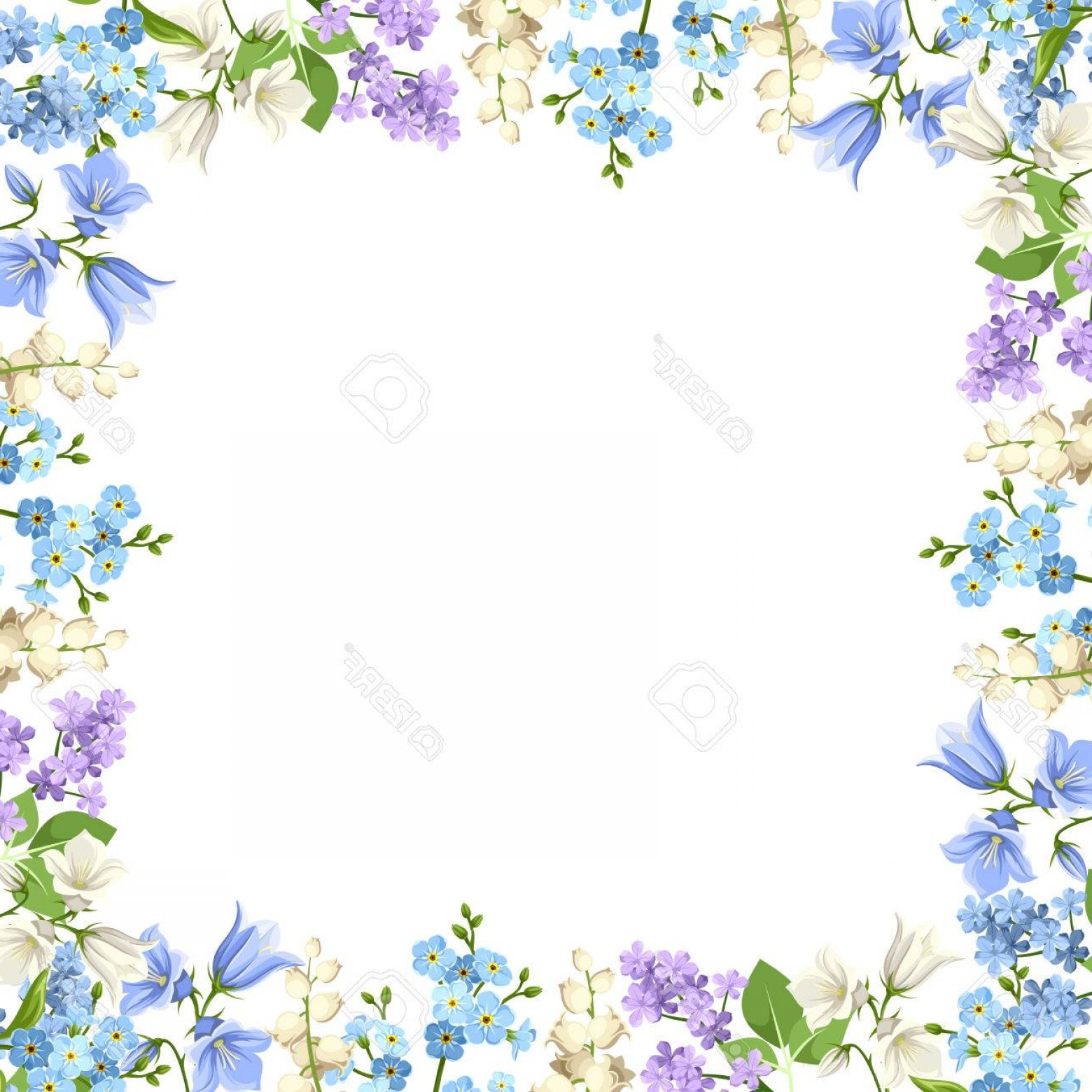 Purple Green And White Vector: Photostock Vector Background With Various Blue Purple And White Flowers And Green Leaves