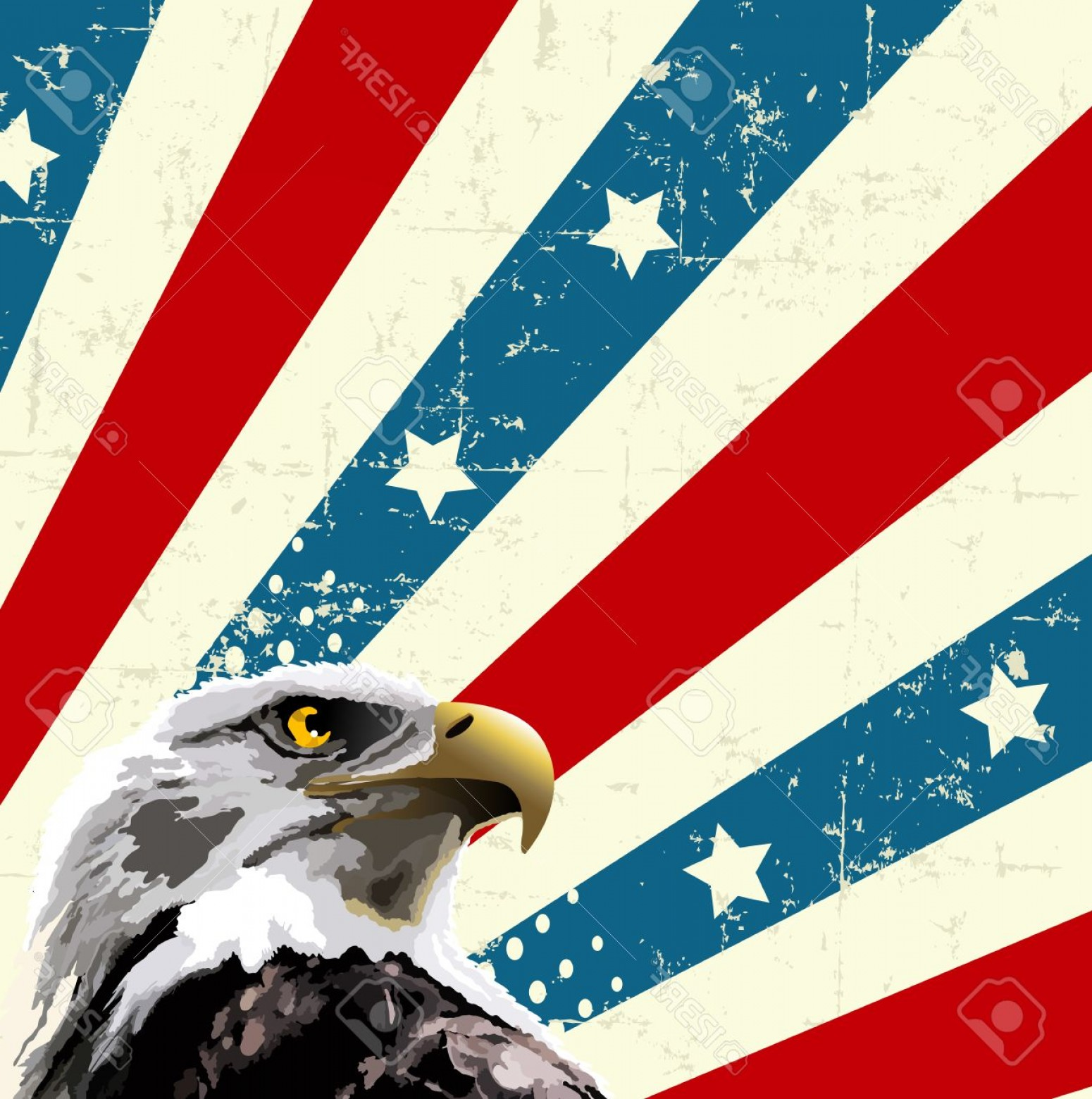 Patriotic Bald Eagle Vector: Photostock Vector Bald Eagle In Front Of An American Flag Design