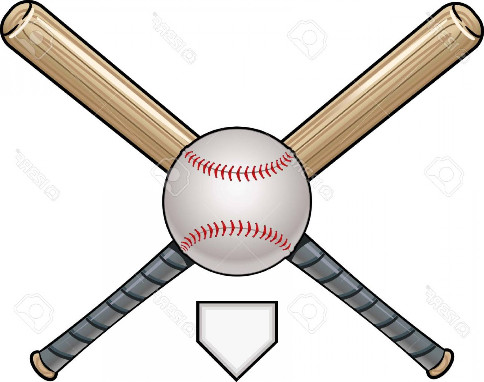 Vector Baseball Cross: Photostock Vector Ball And Cross Bat