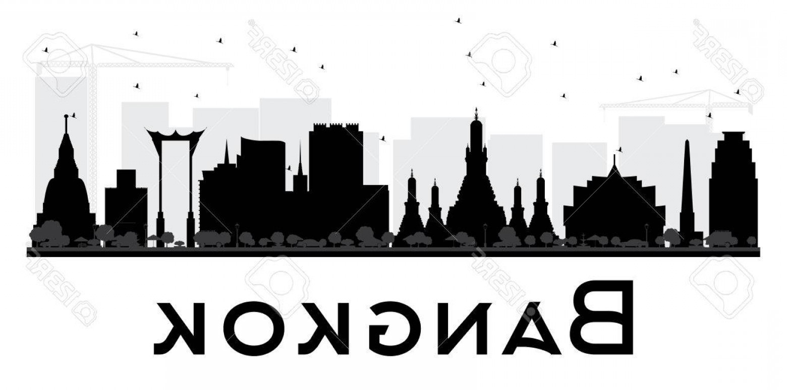 City Vector: Photostock Vector Bangkok City Skyline Black And White Silhouette Vector Illustration Simple Flat Concept For Tourism