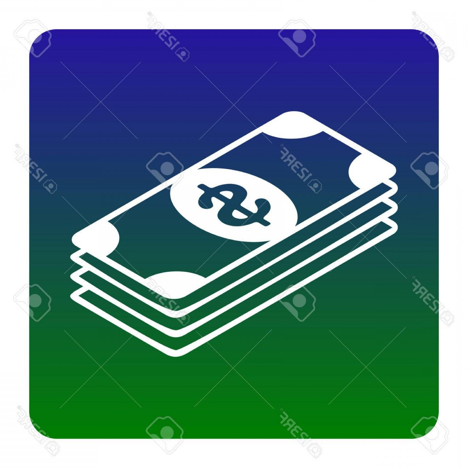 Blue Dollar Sign Vector: Photostock Vector Bank Note Dollar Sign Vector White Icon At Green Blue Gradient Square With Rounded Corners On White