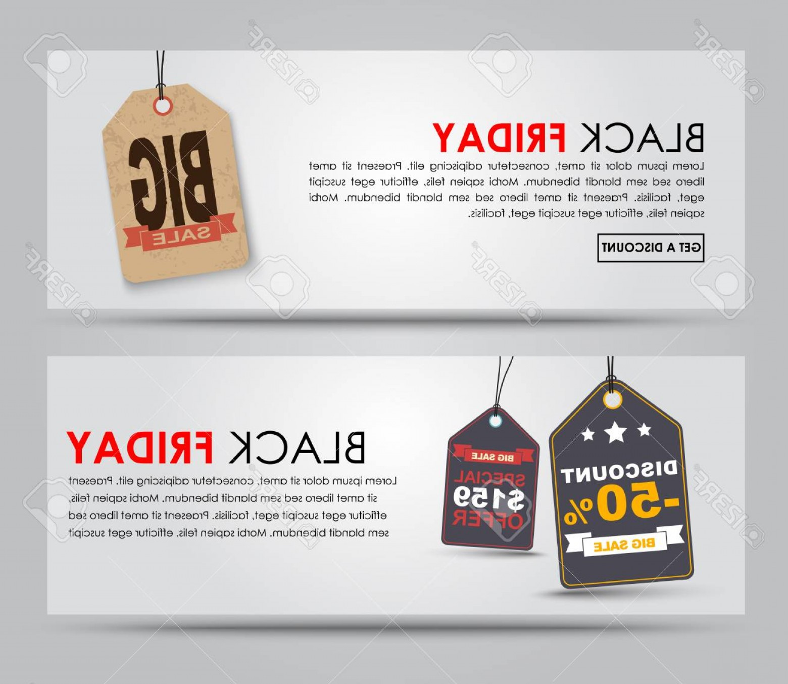 Vector Banner And Sell: Photostock Vector Banner Design Black Friday For Sale On A White Background With Tags Vector Illustration Set