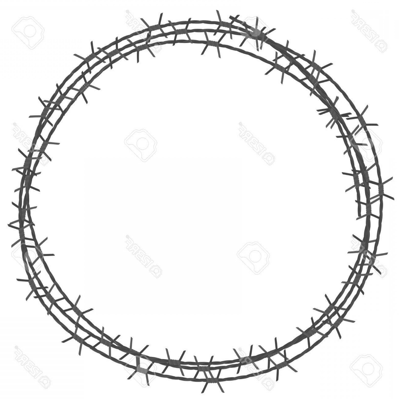 Fence Post Barbed Wire Vector Clip Art: Photostock Vector Barbed Wire Circle Border Vector Illustration Isolated On White Background