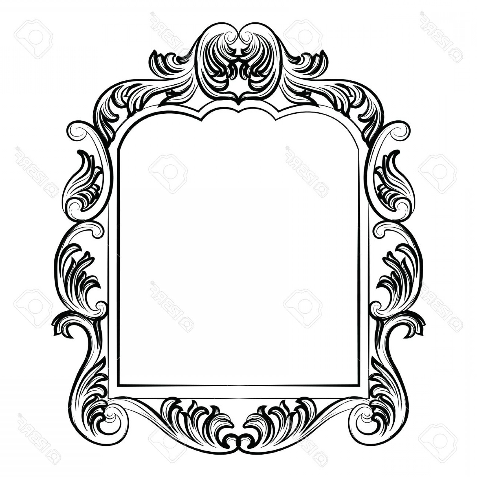 Victorian Style Frame Vector: Photostock Vector Baroque Rococo Mirror Frame Decor Vector Luxury Rich Carved Frame Victorian Style Frame