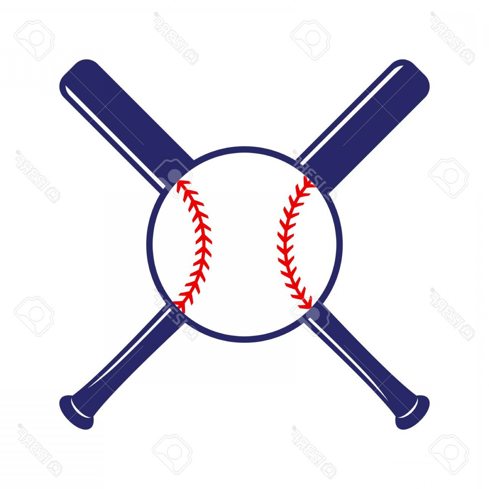 Vector Baseball Cross: Photostock Vector Baseball Crossed Bats With Ball Criss Cross Bats Baseball Flat Vector Illustration