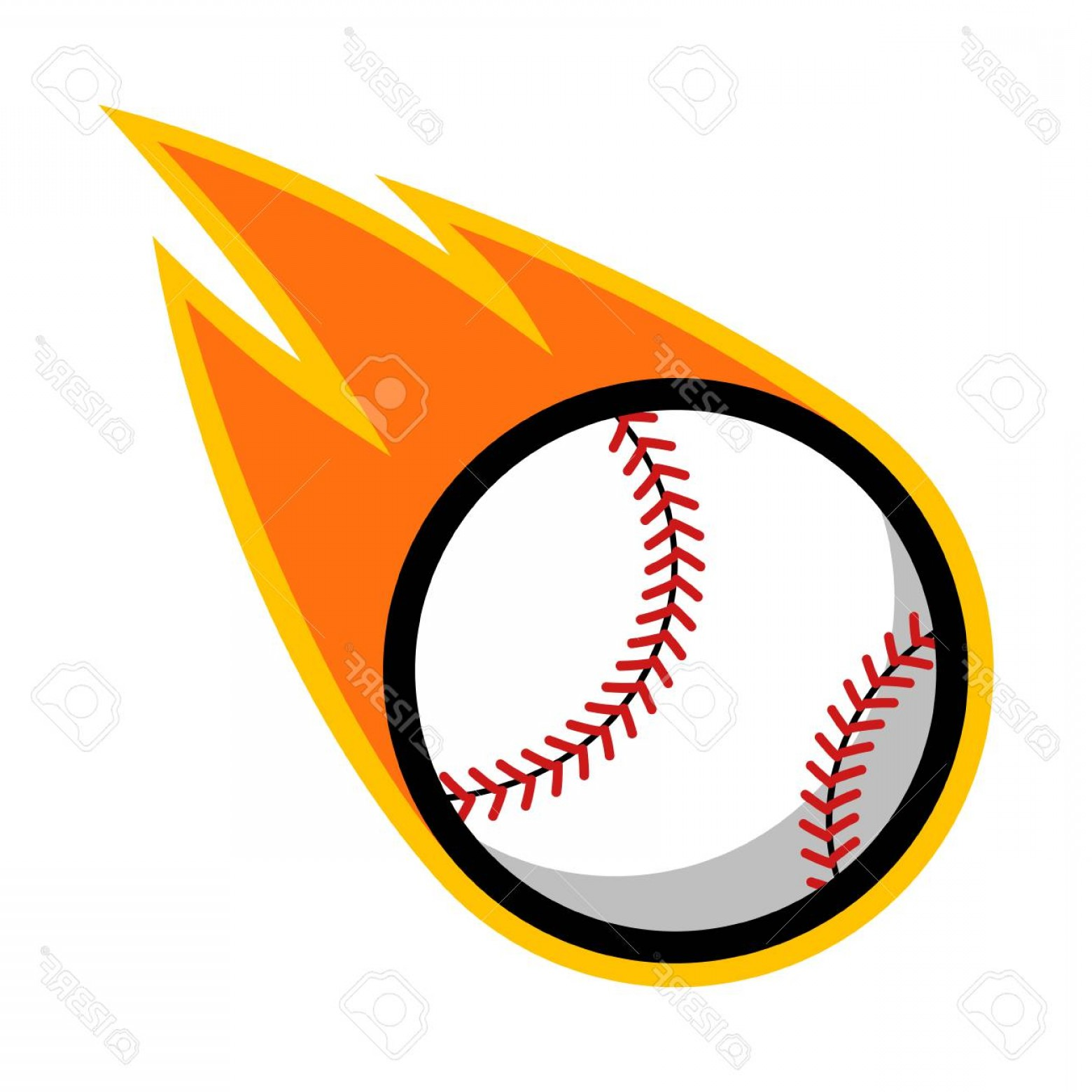 Baseball Tails Vector Clip Arts: Photostock Vector Baseball Sport Comet Fire Tail Flying Logo