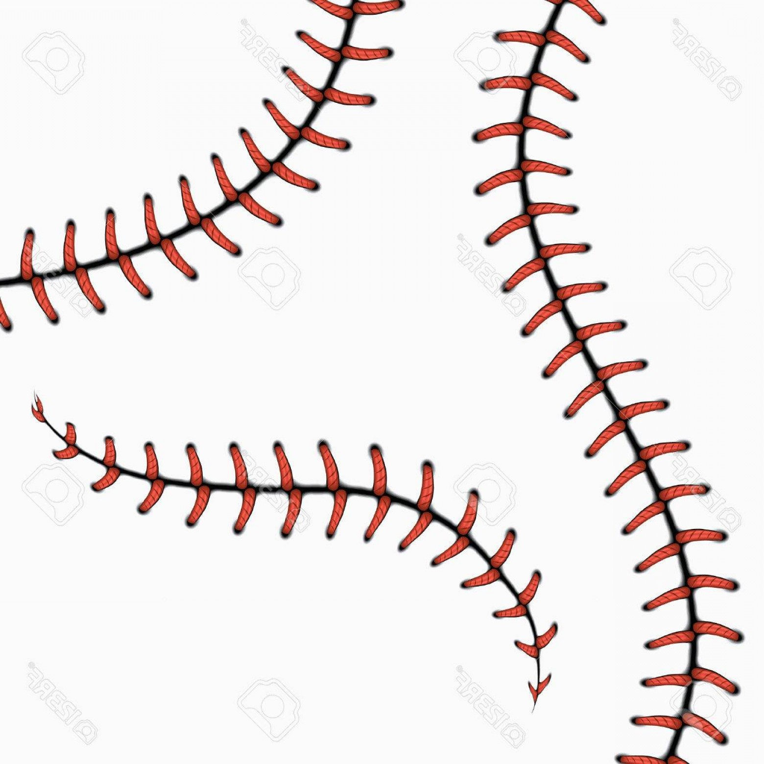 Laces Basball Vector: Photostock Vector Baseball Stitches Softball Laces Isolated On White Vector Set Red Stitch For Ball Line Curve Seam St