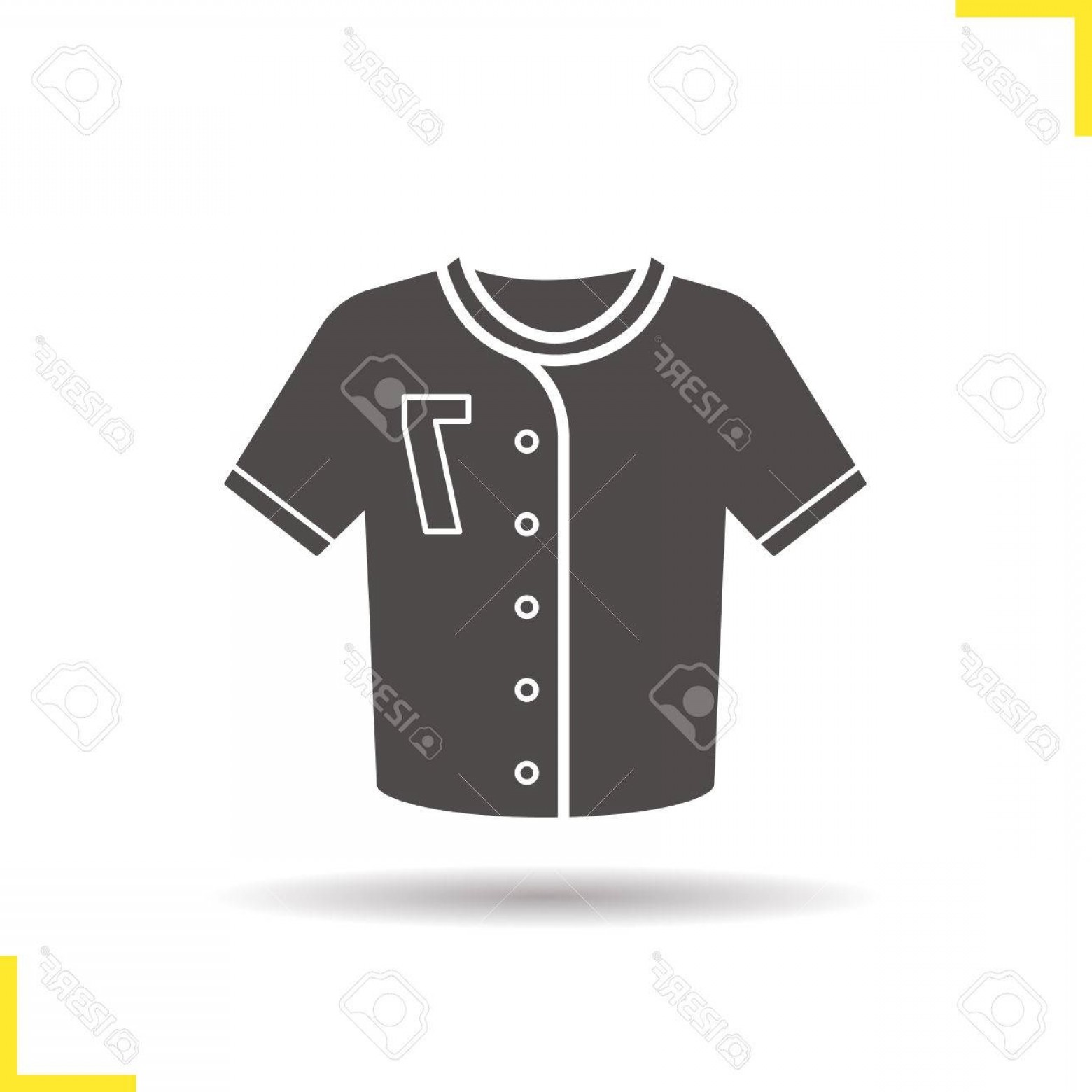 Vector Pocket Silhouette Shirt: Photostock Vector Baseball T Shirt Icon Negative Space Drop Shadow Silhouette Symbol Softball Player S Uniform Shirt V