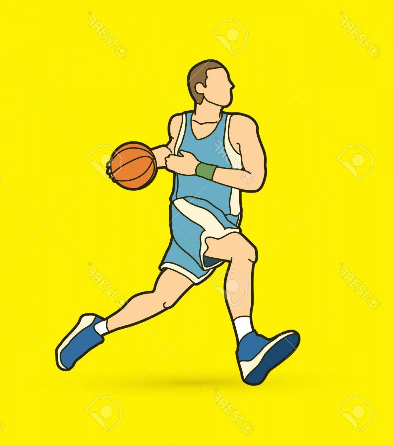 Motion Basketball Vector: Photostock Vector Basketball Player In Running Motion Color Graphic Vector
