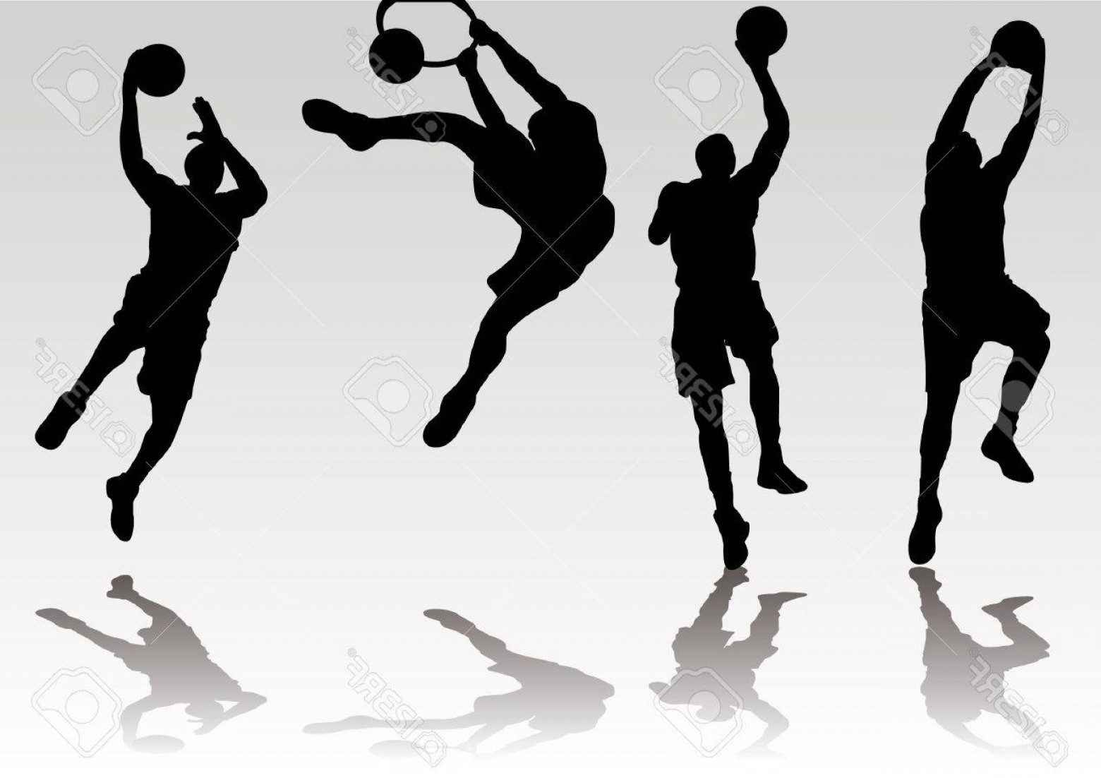 Dunking Basketball Silhouette Vector: Photostock Vector Basketball Player Slam Dunk And Rebound Shadow Silhouette
