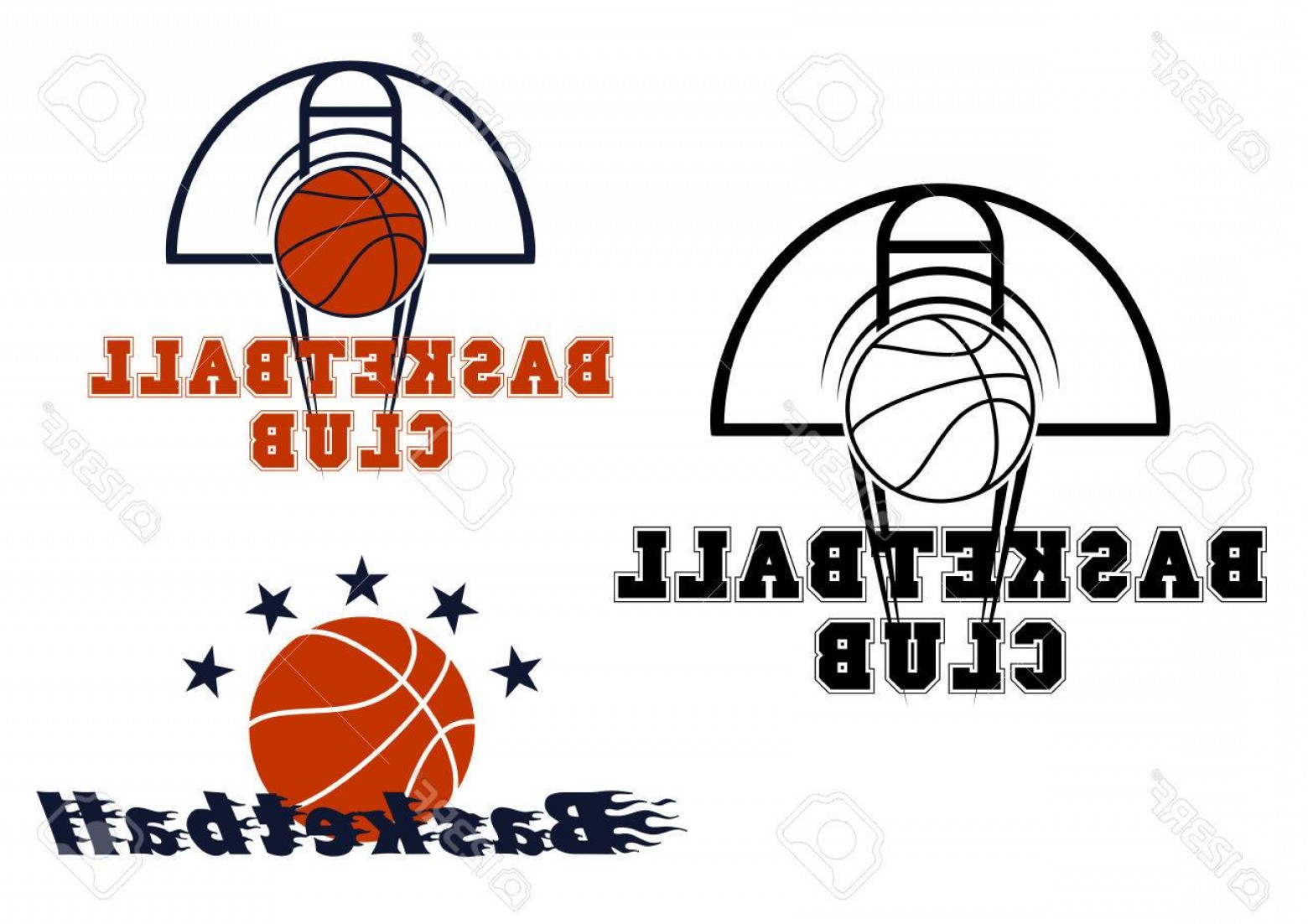Motion Basketball Vector: Photostock Vector Basketball Sport Emblems With Stars And Flying Ball With Motion Trails Over Basketball Court