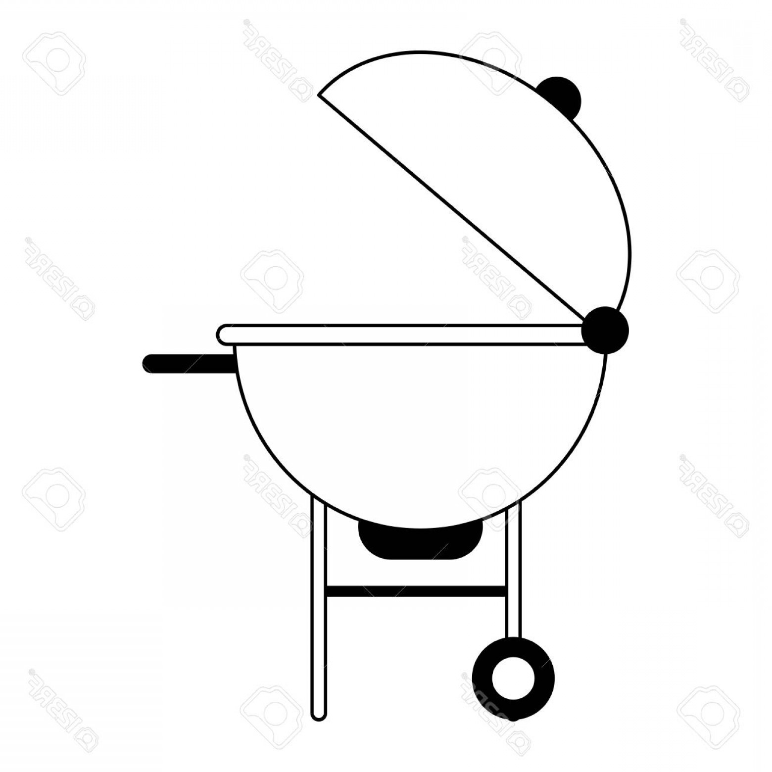 BBQ Grill Vector Black And White: Photostock Vector Bbq Grill Icon Image Vector Illustration Design Black And White