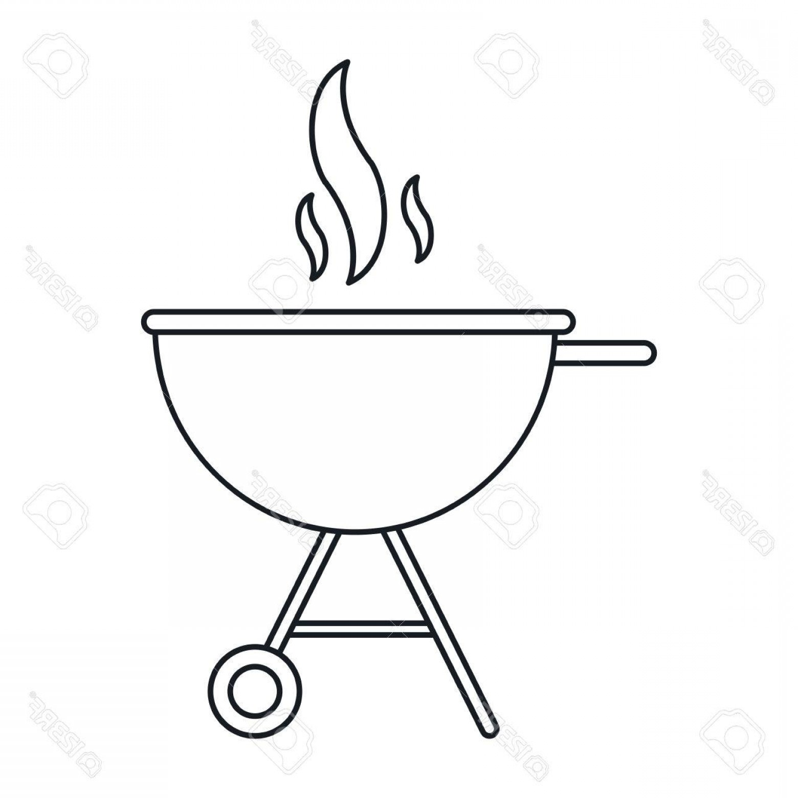 BBQ Grill Vector Black And White: Photostock Vector Bbq Grill Party American Football Outline Vector Illustration