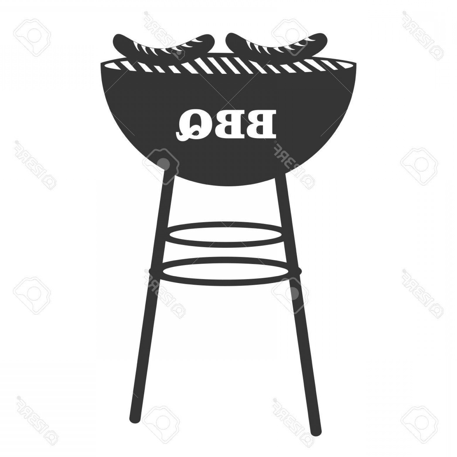 BBQ Grill Vector Black And White: Photostock Vector Bbq Grill With Sausages Icon In Black And White Vector Illustration Graphic Design