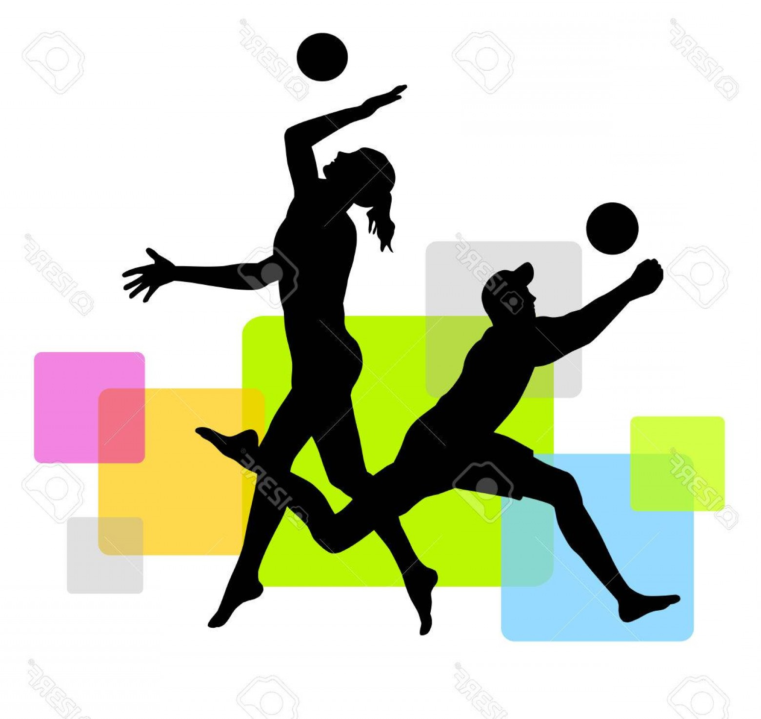 Volleyball Player Vector: Photostock Vector Beach Volleyball Players With Elements