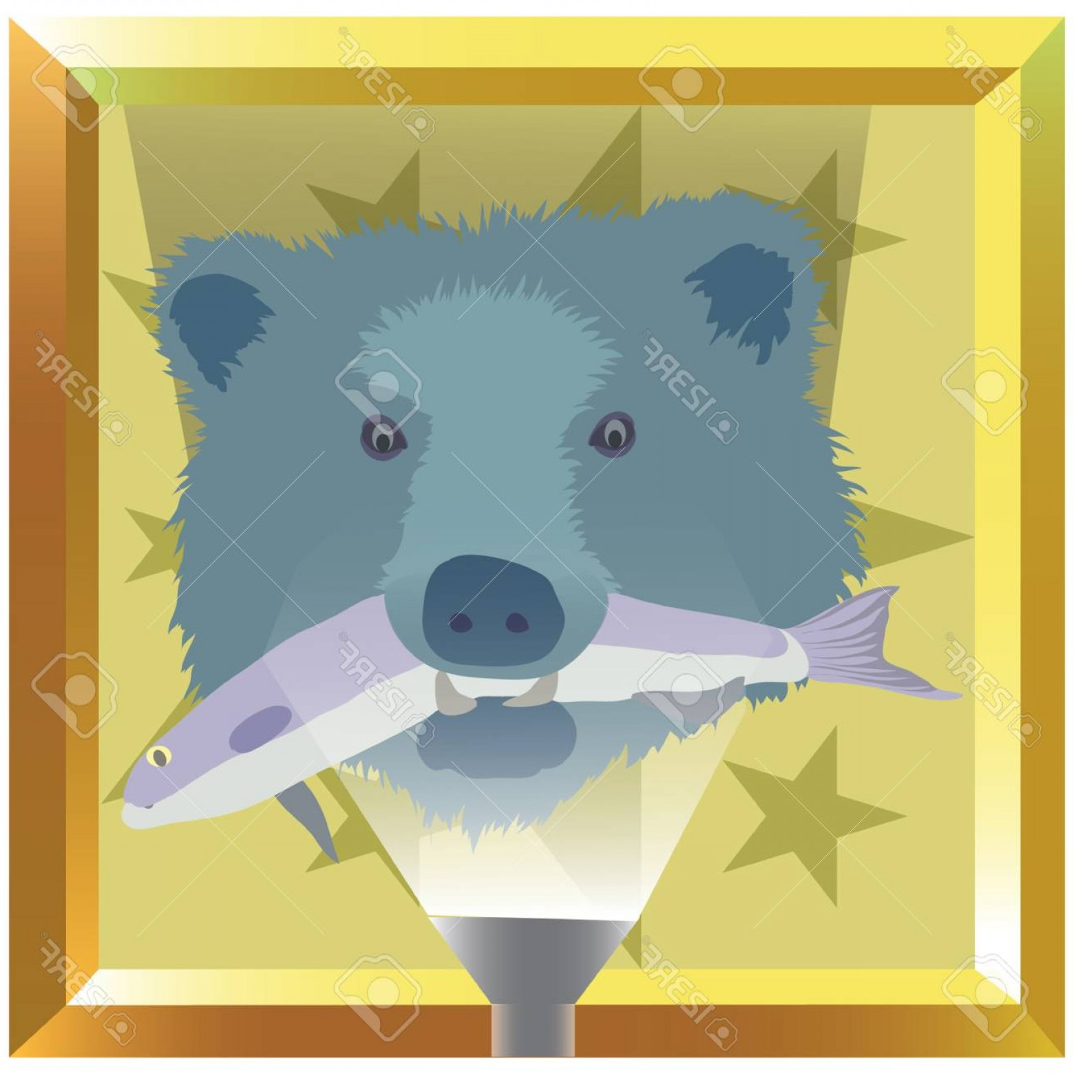 Vector Art Bear With Salmon: Photostock Vector Bear And Salmon Illustration