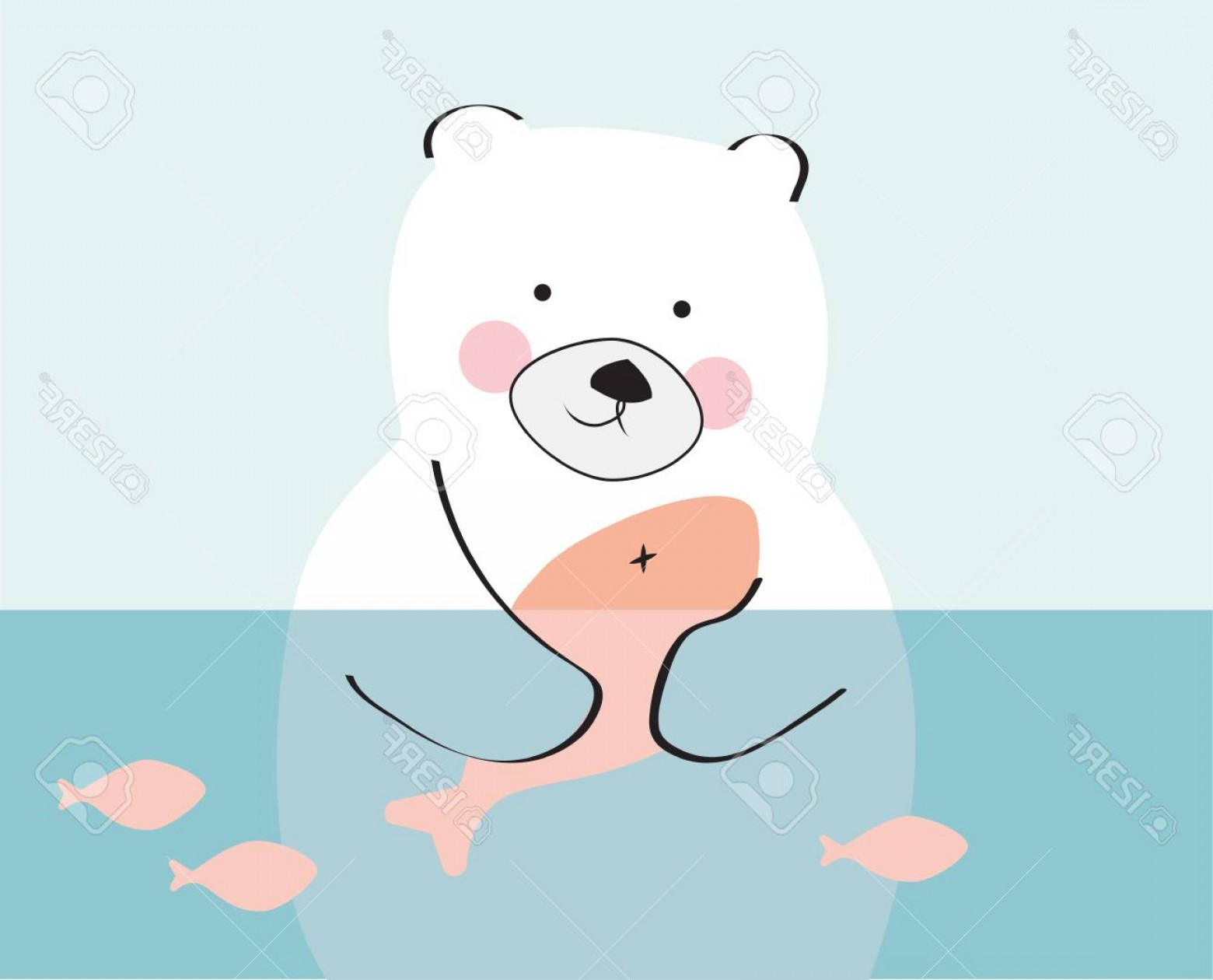 Vector Art Bear With Salmon: Photostock Vector Bear Holding A Salmon Child Drawings Vector Polar Bear Hunting On Water