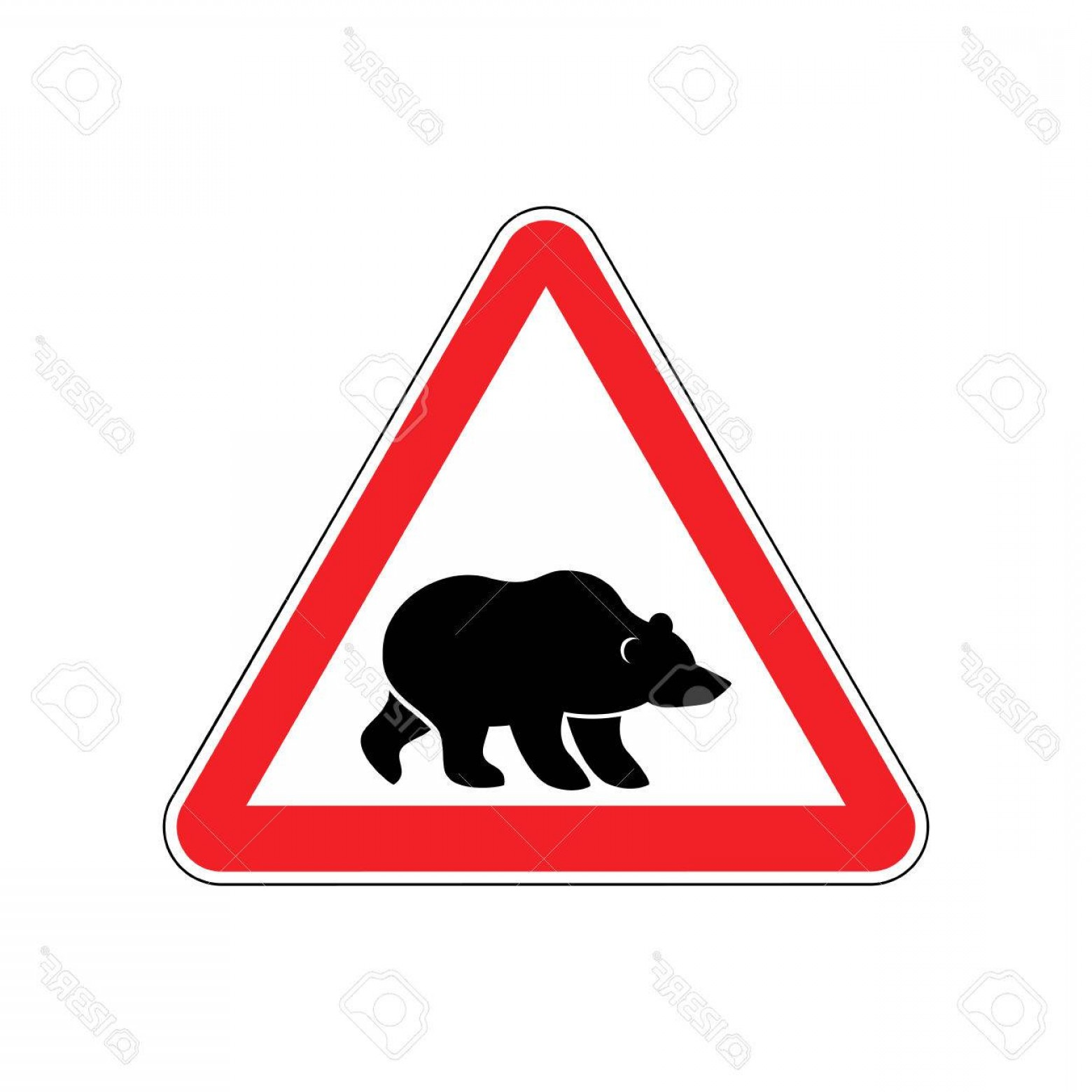 Road Sign Silhouette Vector Bear: Photostock Vector Bear Warning Sign Red Predator Hazard Attention Symbol Danger Road Sign Triangle Wild Beast