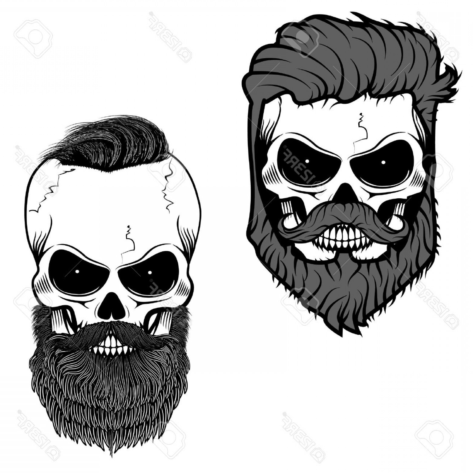 Fear The Beard Vector: Photostock Vector Bearded Skull Sugar Skull With Beard Day Of Death Vector Illustration