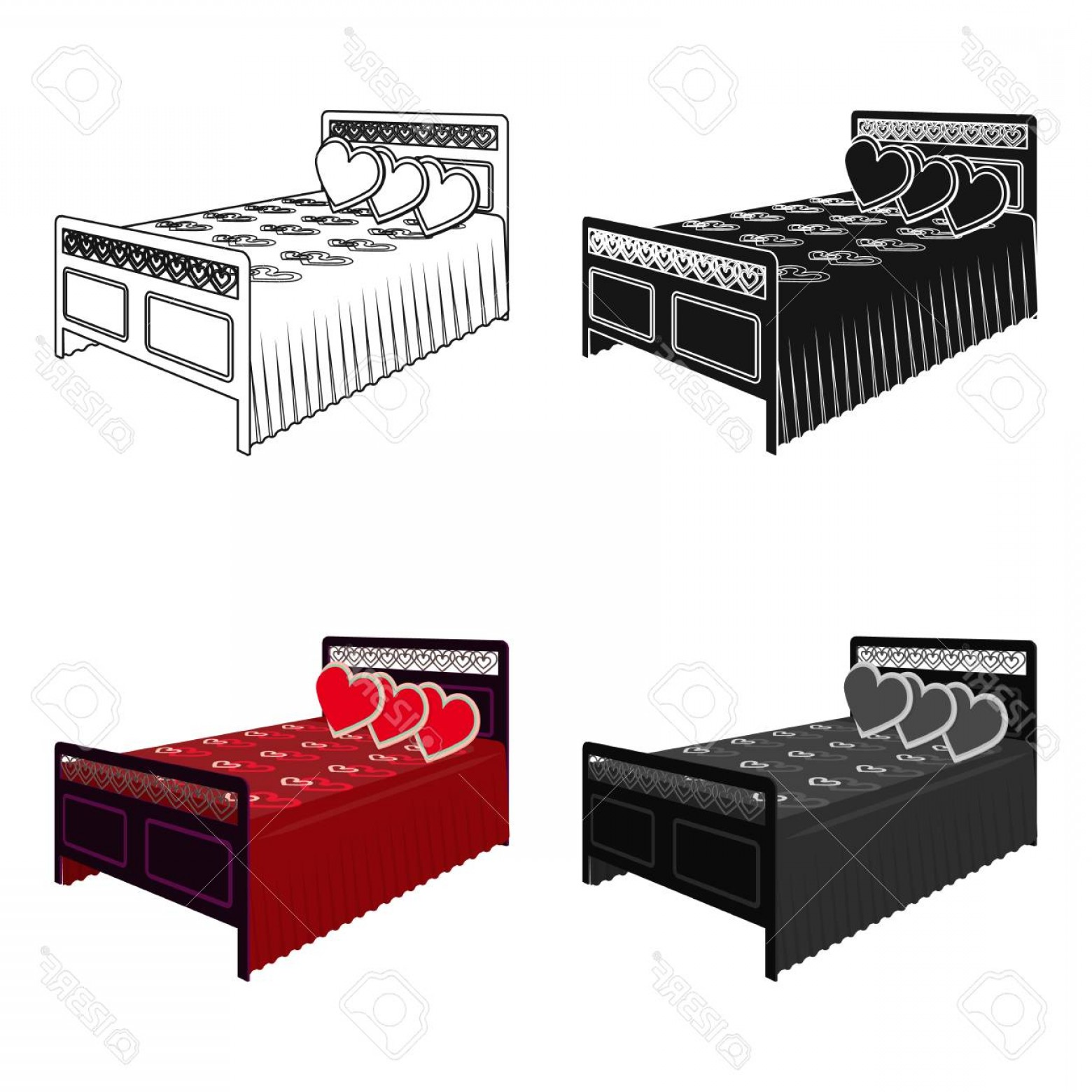 Back Of The Couch Vector: Photostock Vector Beautiful Bedroom With A Wrought Iron Back Bed With Red Blanket And Pillows In The Shape Of A Heart