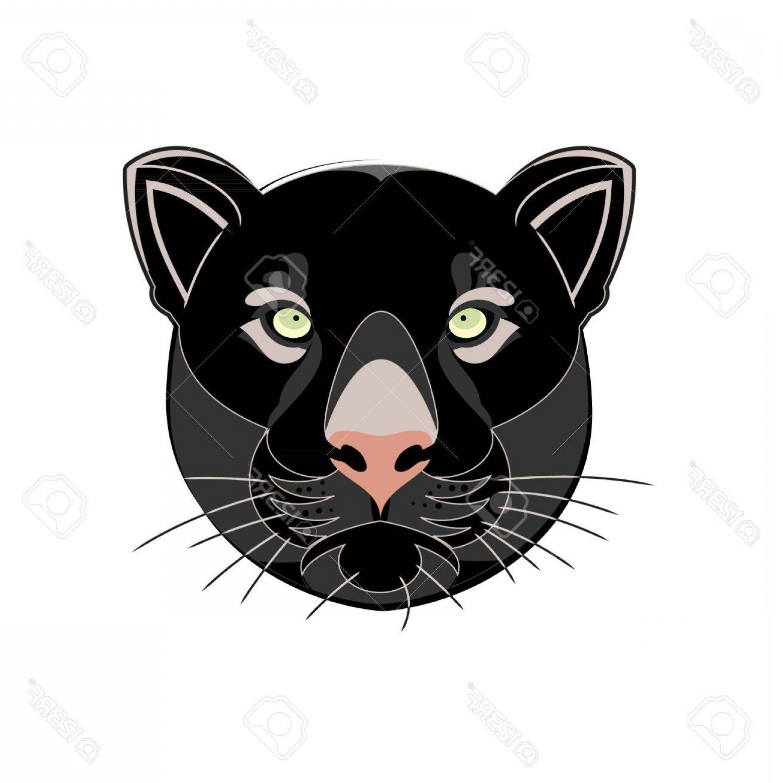 Malee Cat Head Silhouette Vector: Photostock Vector Beautiful Black Panther Head Silhouette Vector Illustration Isolated On White Background