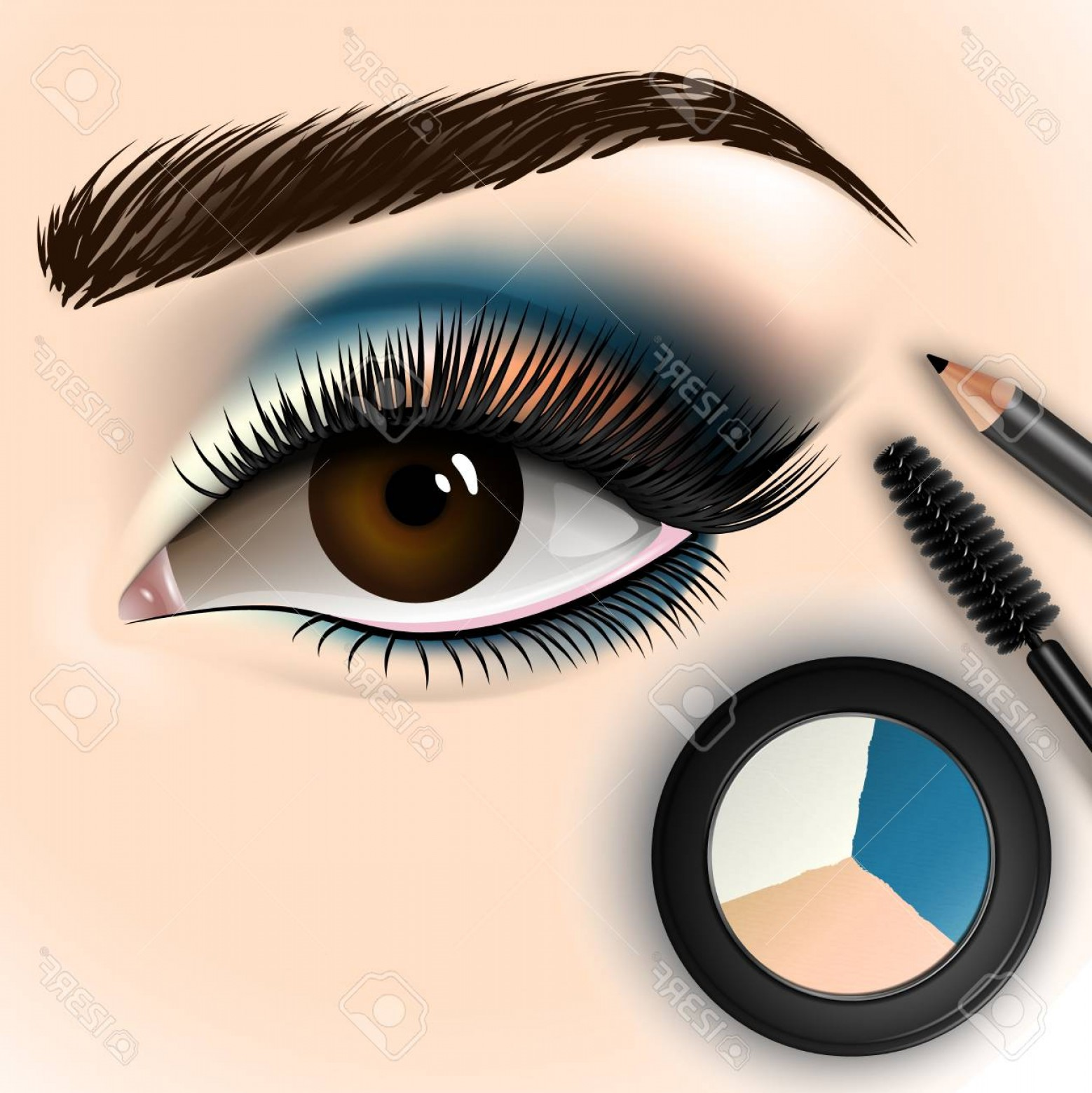 Vector Illustration Eyes Makeup: Photostock Vector Beautiful Eye With Makeup Accessories Brush Eyeliner And Eye Shadow Vector Illustration