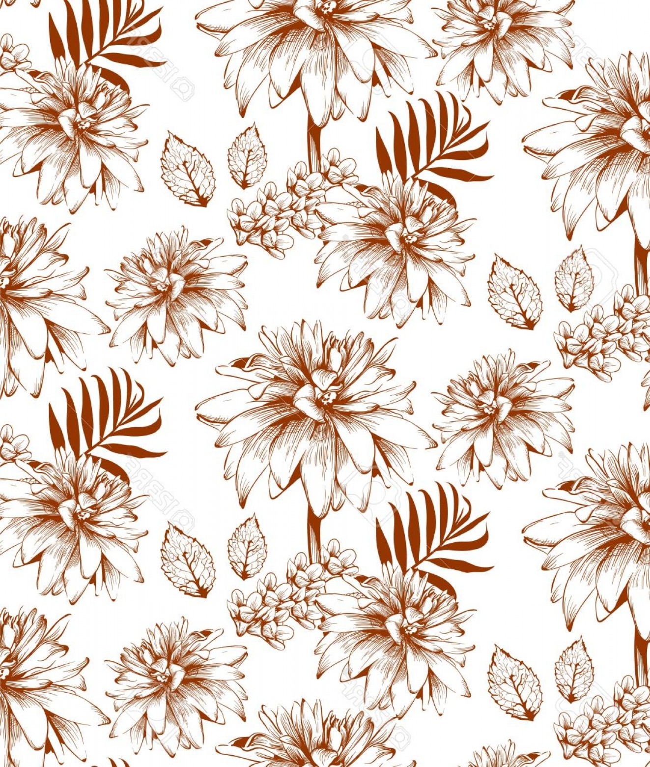 Beautiful Flowers Vector Graphic: Photostock Vector Beautiful Flowers Vector Illustration Floral Pattern Background Line Art Hand Drawn Graphic Style Il