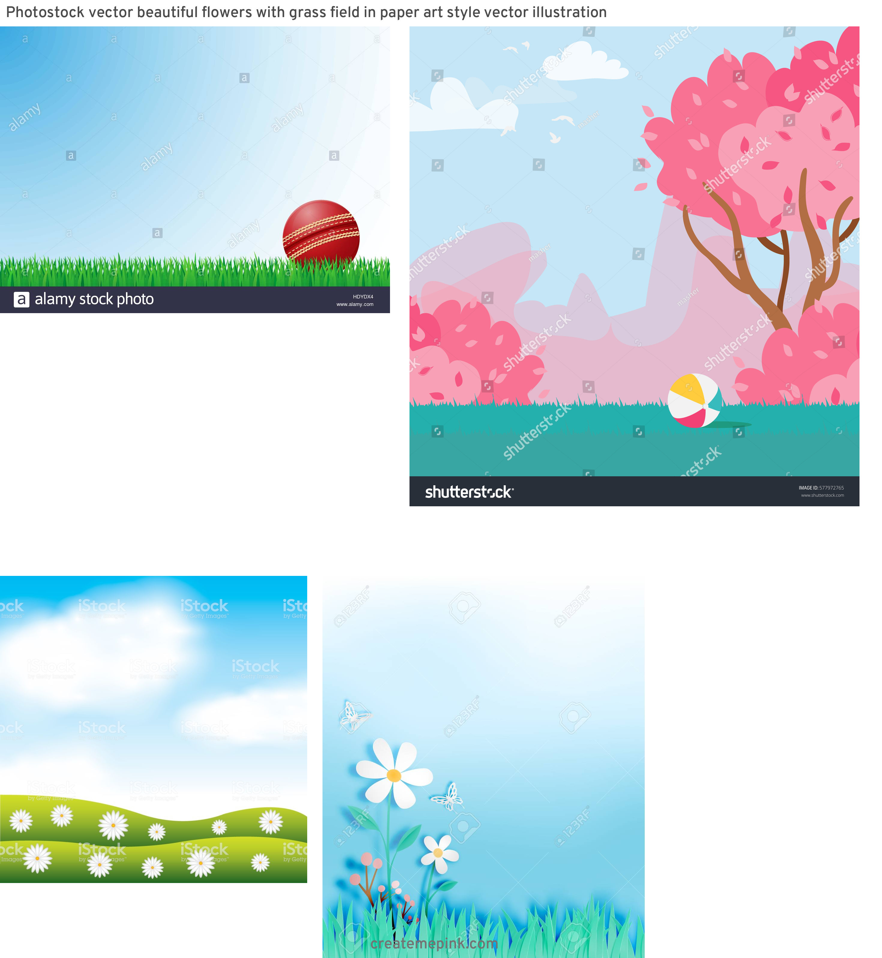 Vector Art Grass Field: Photostock Vector Beautiful Flowers With Grass Field In Paper Art Style Vector Illustration