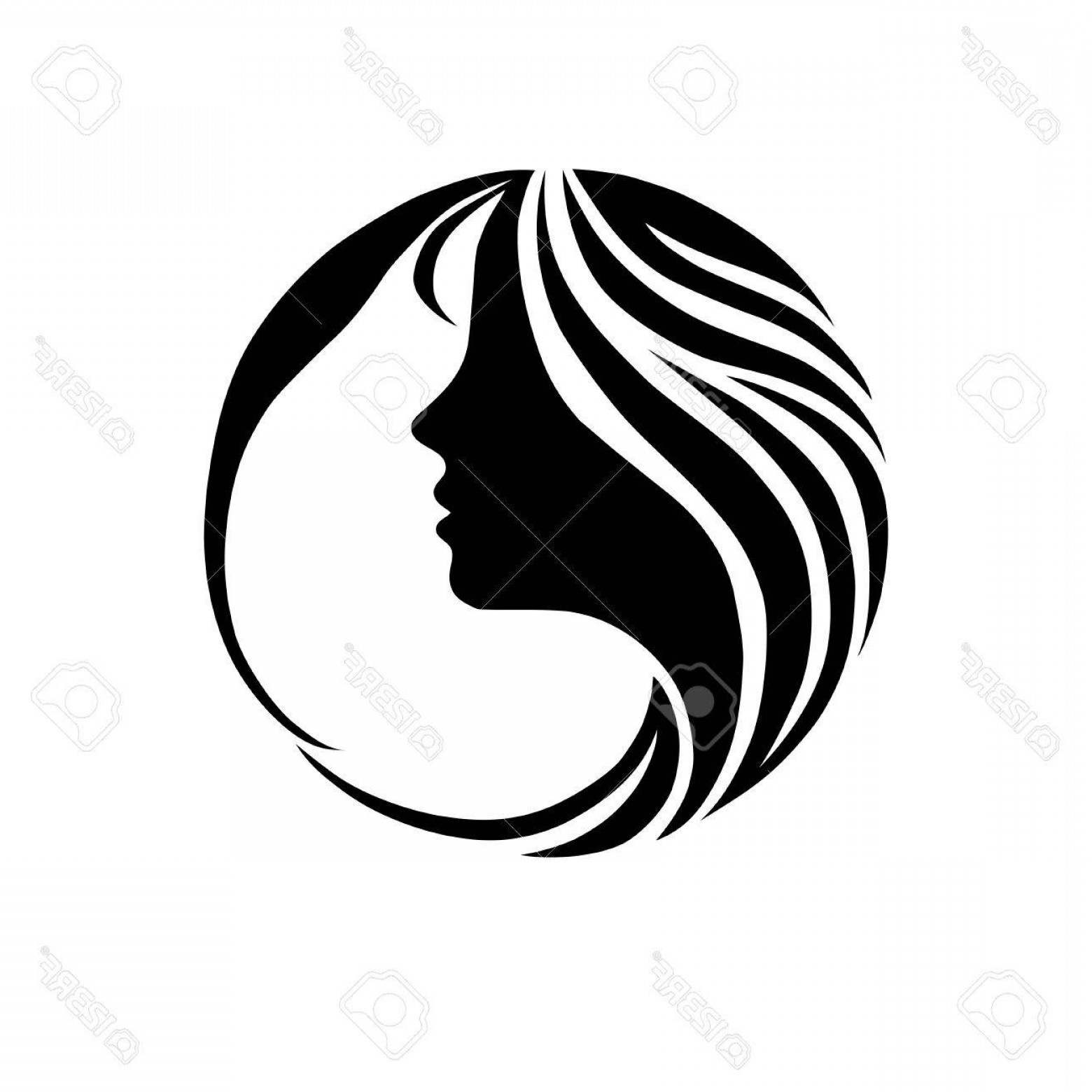 Girl Face Vector Art Black And White: Photostock Vector Beautiful Girl Face Fashion Icon In Black And White