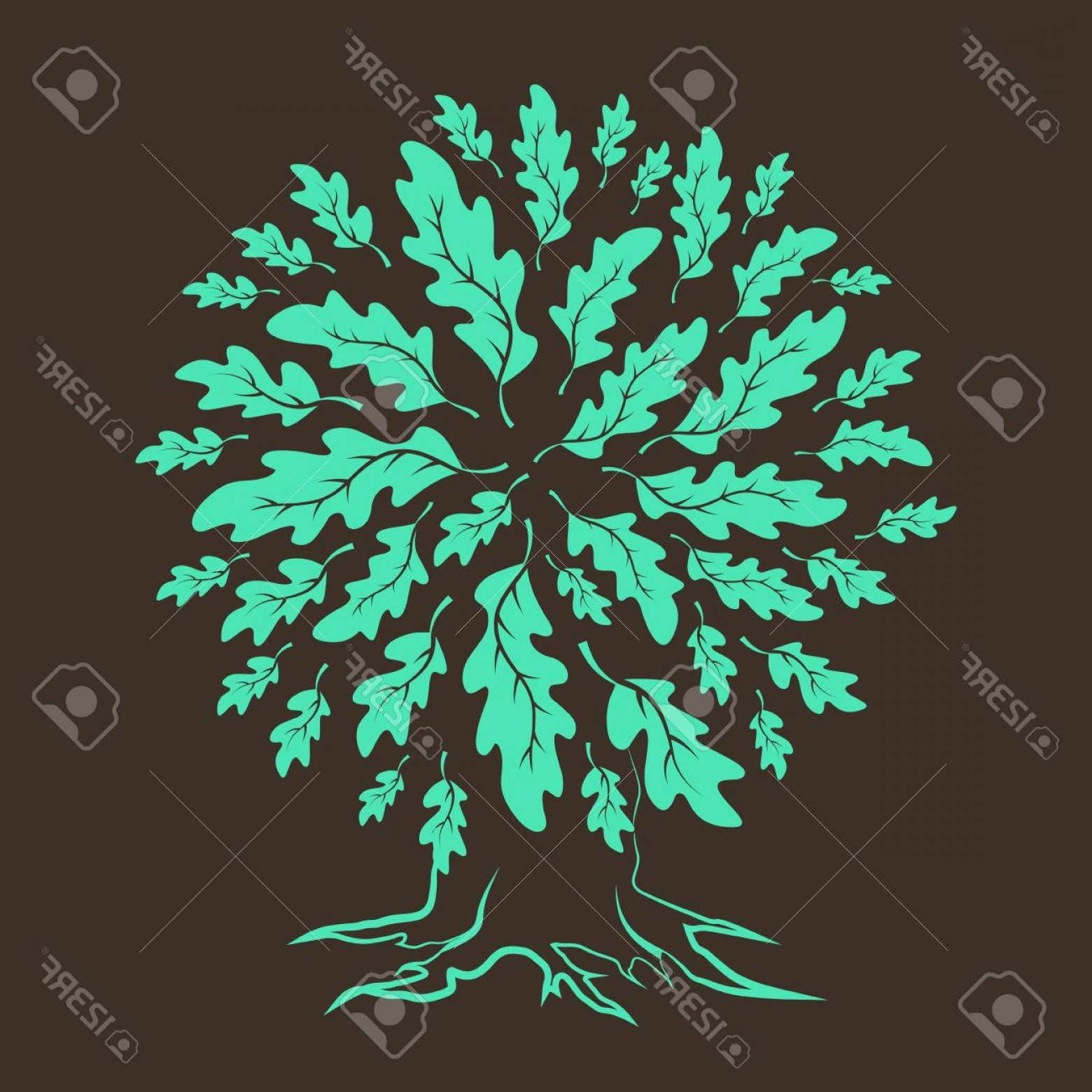 Oak Tree Silhouette Vector Graphics: Photostock Vector Beautiful Oak Tree Silhouette Isolated On Brown Background