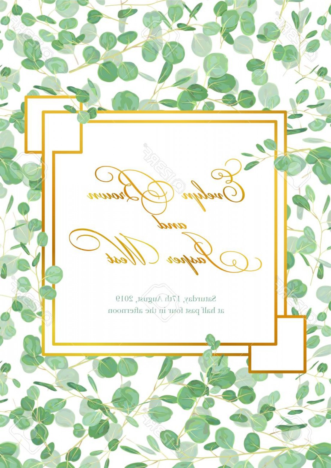 Rustic Wedding Invitation Vector: Photostock Vector Beautiful Rustic Wedding Invitation Card With Eucalyptus Green Leaves And Branches In A Gold Geometr