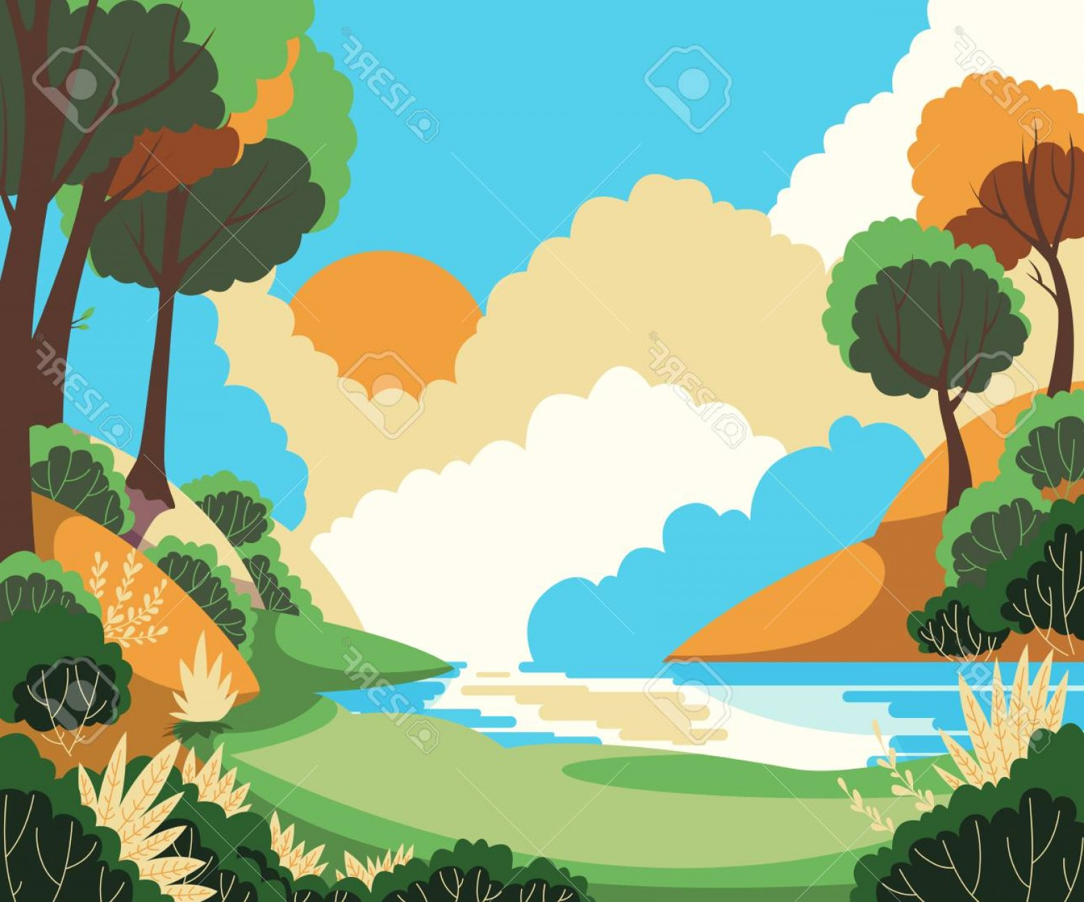 River Vector Art: Photostock Vector Beautiful Summer Landscape With Sun Trees And River Vector Illustration