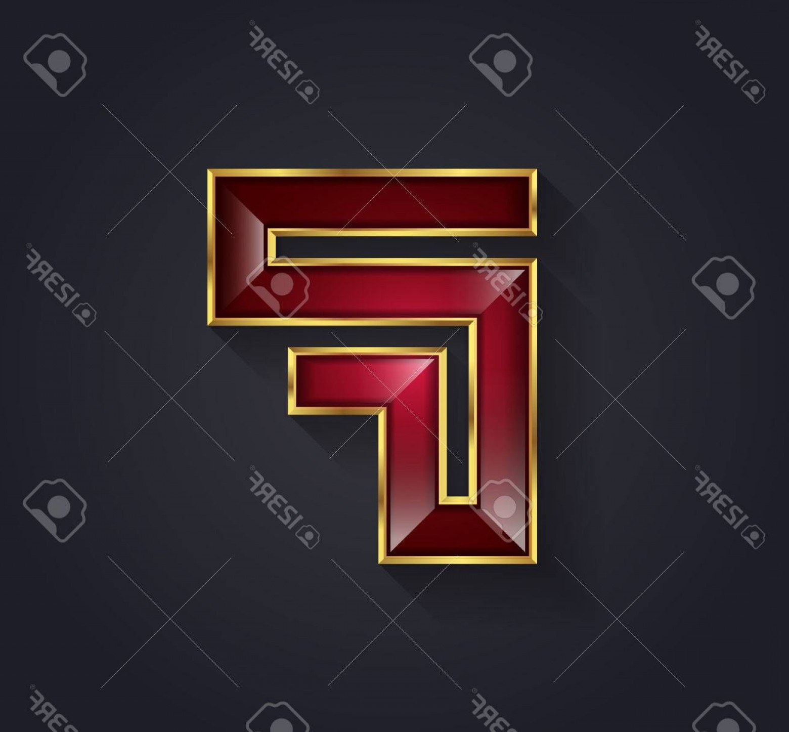 Ruby Royalty Free Vector Graphics: Photostock Vector Beautiful Vector Graphic Ruby Alphabet With Gold Rim Letter F Symbol