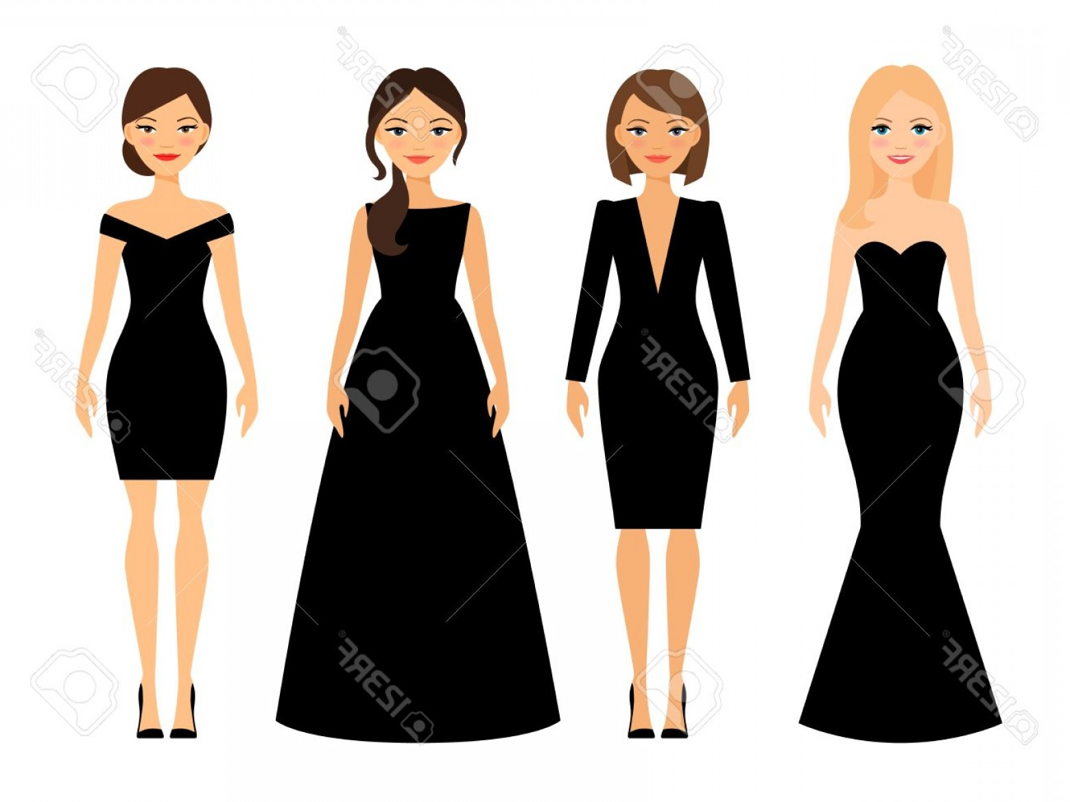 Vector Images Of Black And White Dresses: Photostock Vector Beautiful Women In Different Style Black Dresses Cartoon Characters On White Background Vector Illus