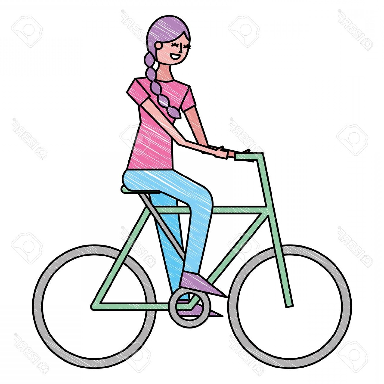 Beautiful Bicycle Vector: Photostock Vector Beautiful Young Happy Woman Riding In Bicycle Vector Illustration Drawing Color Design
