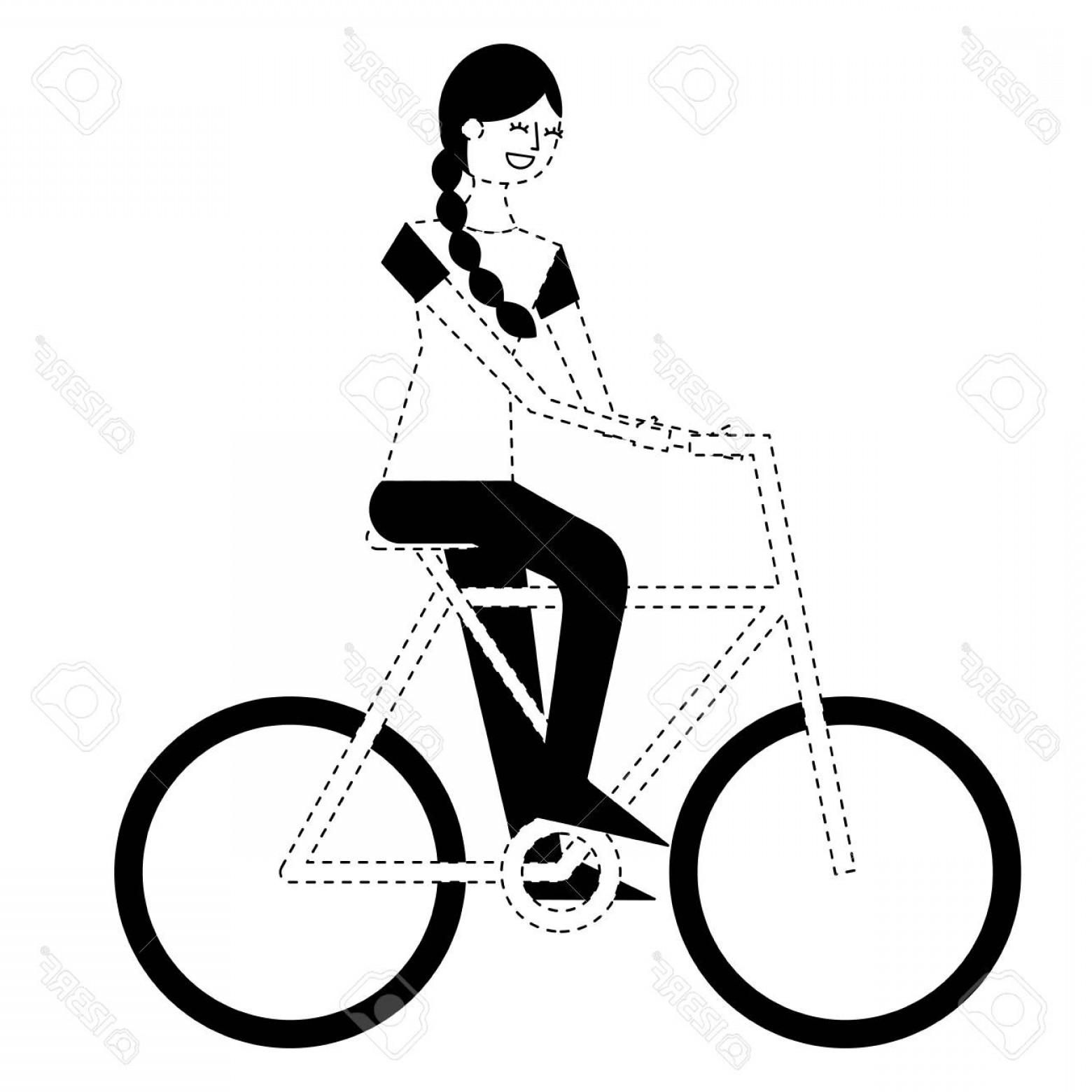 Beautiful Bicycle Vector: Photostock Vector Beautiful Young Happy Woman Riding In Bicycle Vector Illustration Monochrome Dotted Line Image