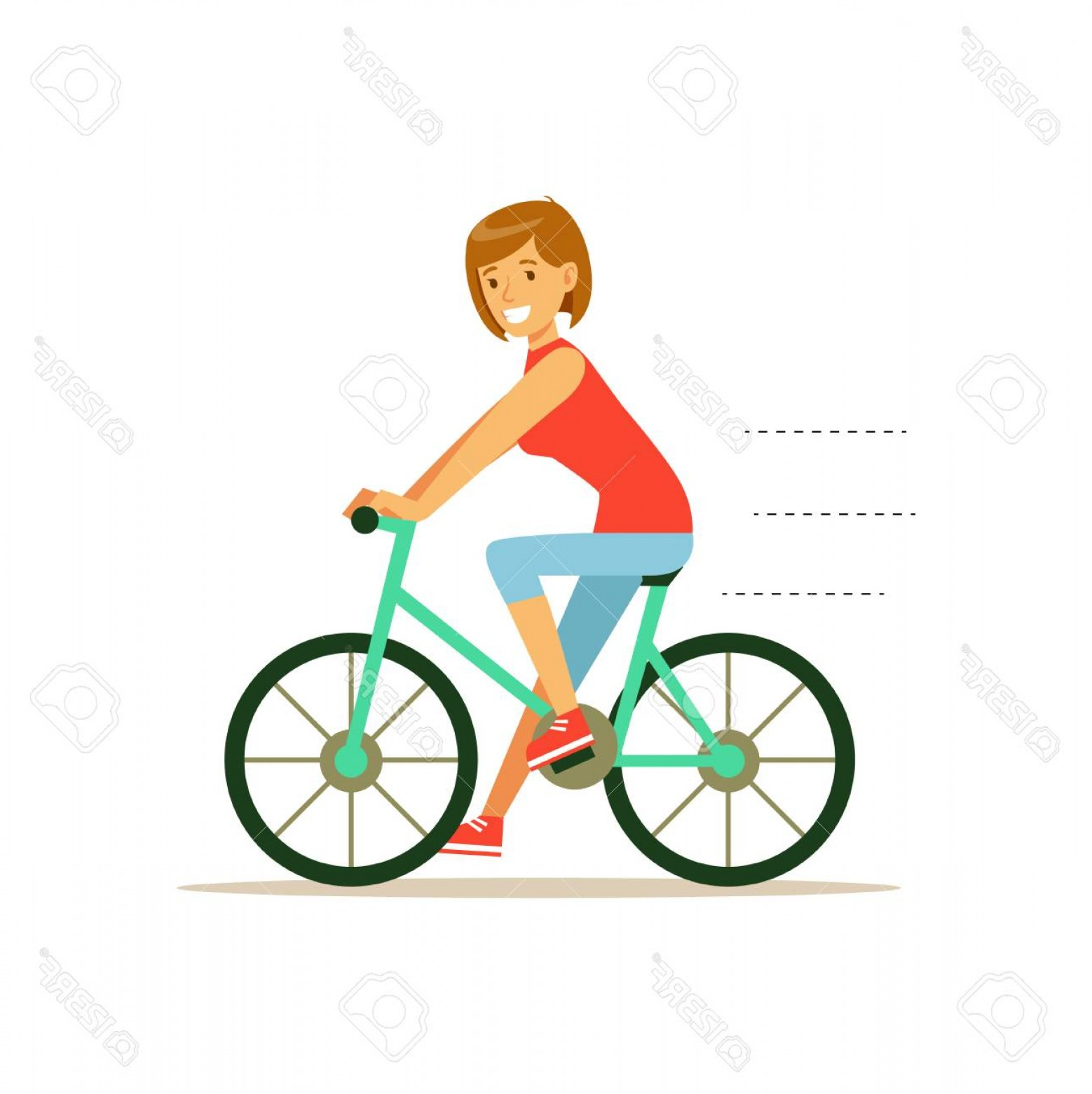 Beautiful Bicycle Vector: Photostock Vector Beautiful Young Woman Character Riding Bicycle Vector Illustration