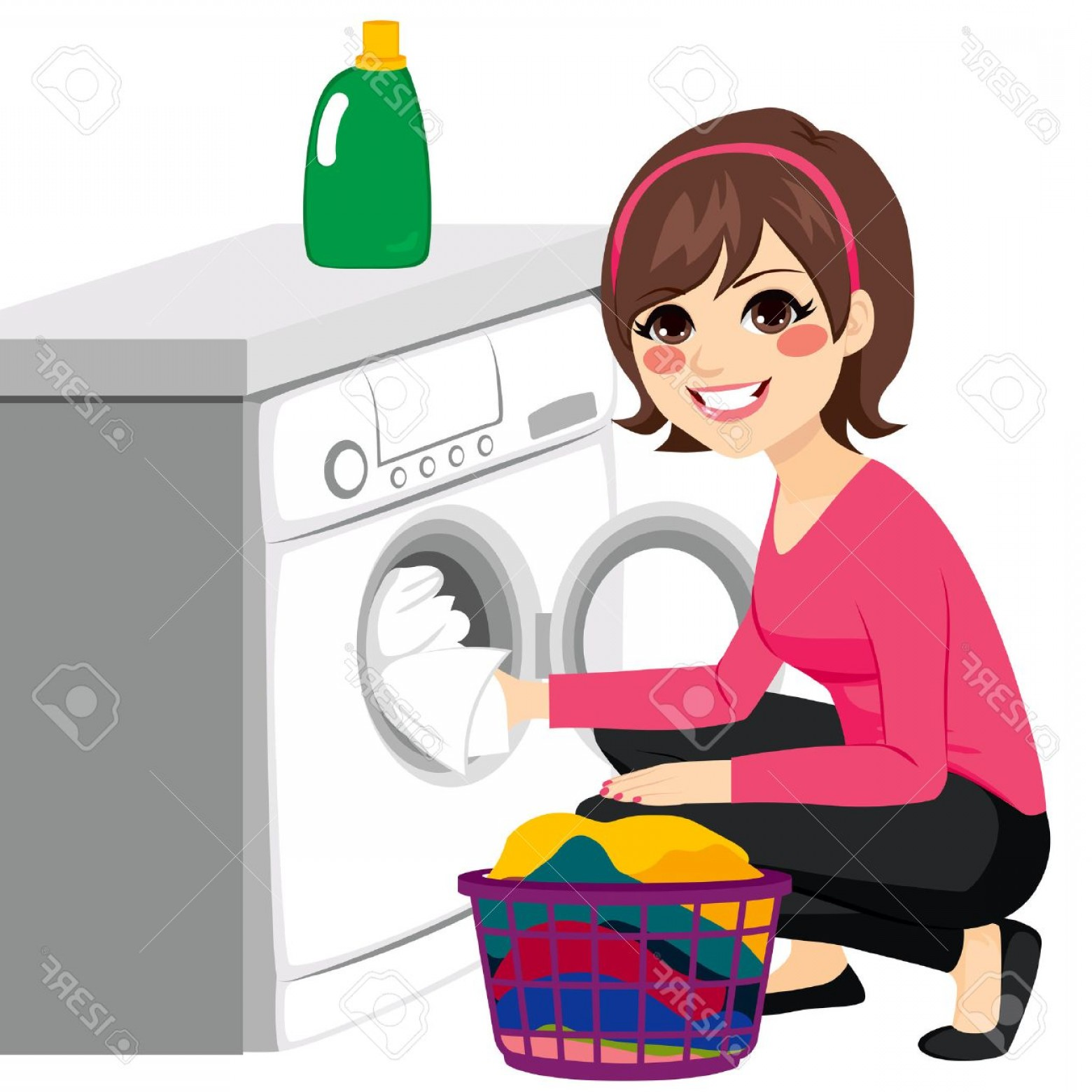 Clothes For Washing Vector: Photostock Vector Beautiful Young Woman Doing Laundry Putting Dirty Clothes On Washing Machine From Basket