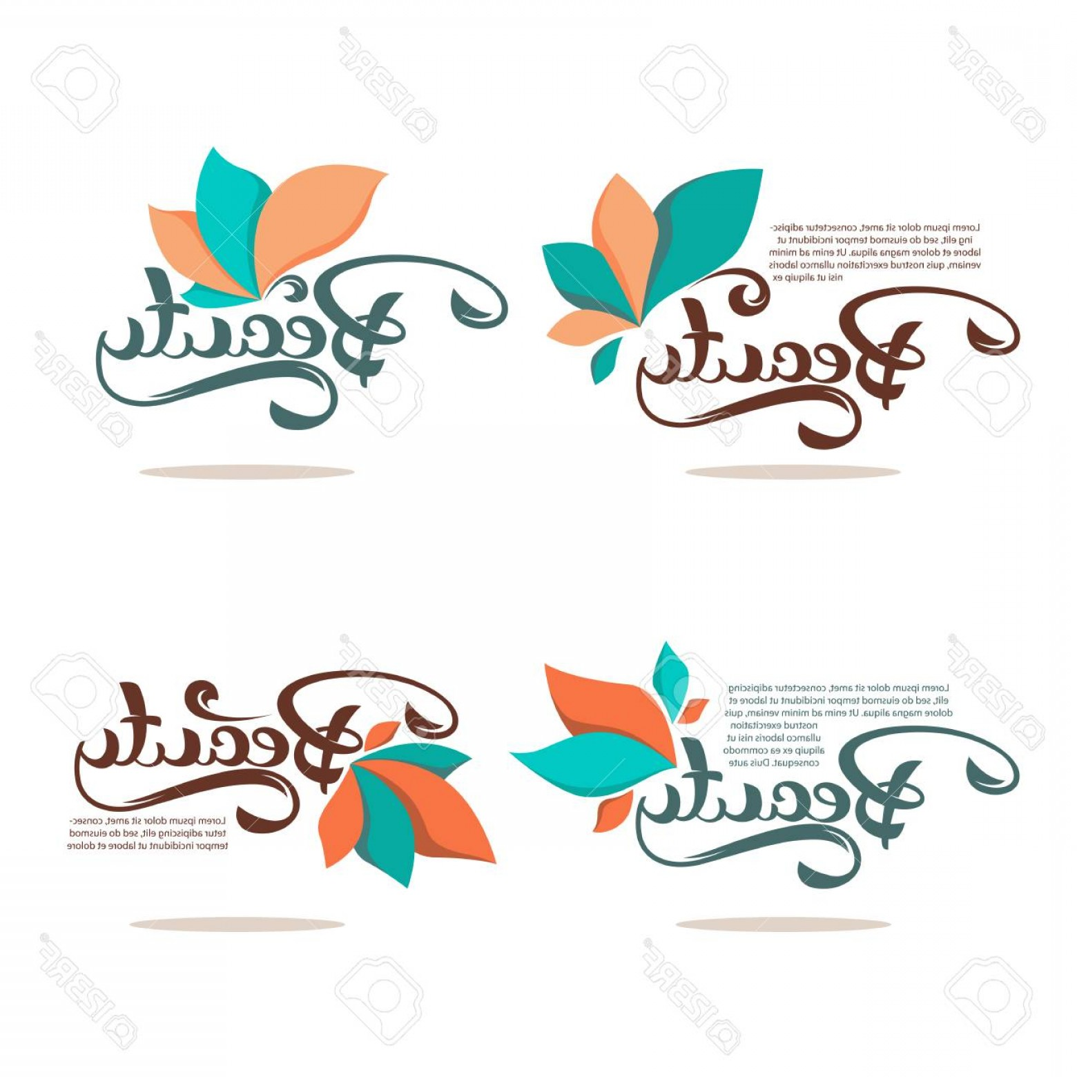 Florid Vector Simple: Photostock Vector Beauty And Spa Logo With Simple Floral Elements And Lettering Composition
