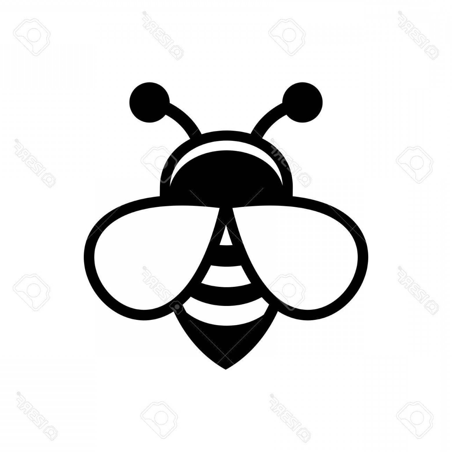 Vector Bee Icon: Photostock Vector Bee Logo Sign Icon On White Background Vector Illustration