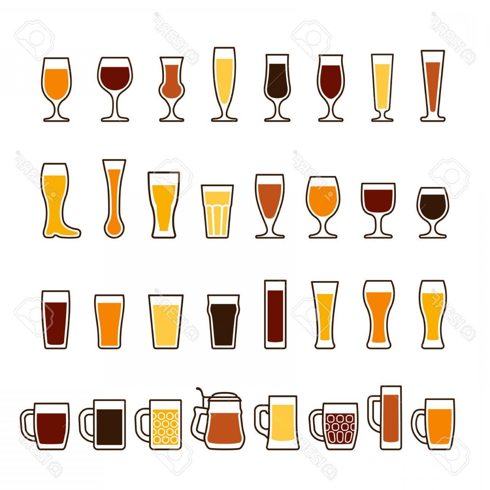 Beer Chalice Vector Logo: Photostock Vector Beer In Glasses And Mugs Different Types Vector Icon Set