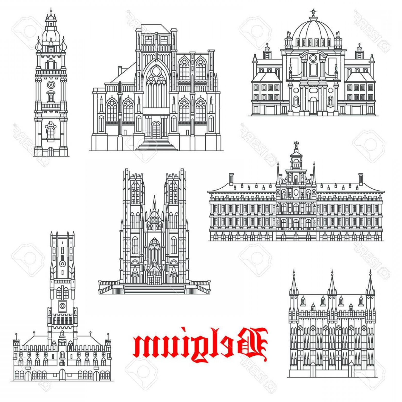 Belgium Theatre Vector Icons: Photostock Vector Belgium Architecture And Landmark Buildings Vector Isolated Icons And Facades Of St Christopher Pete